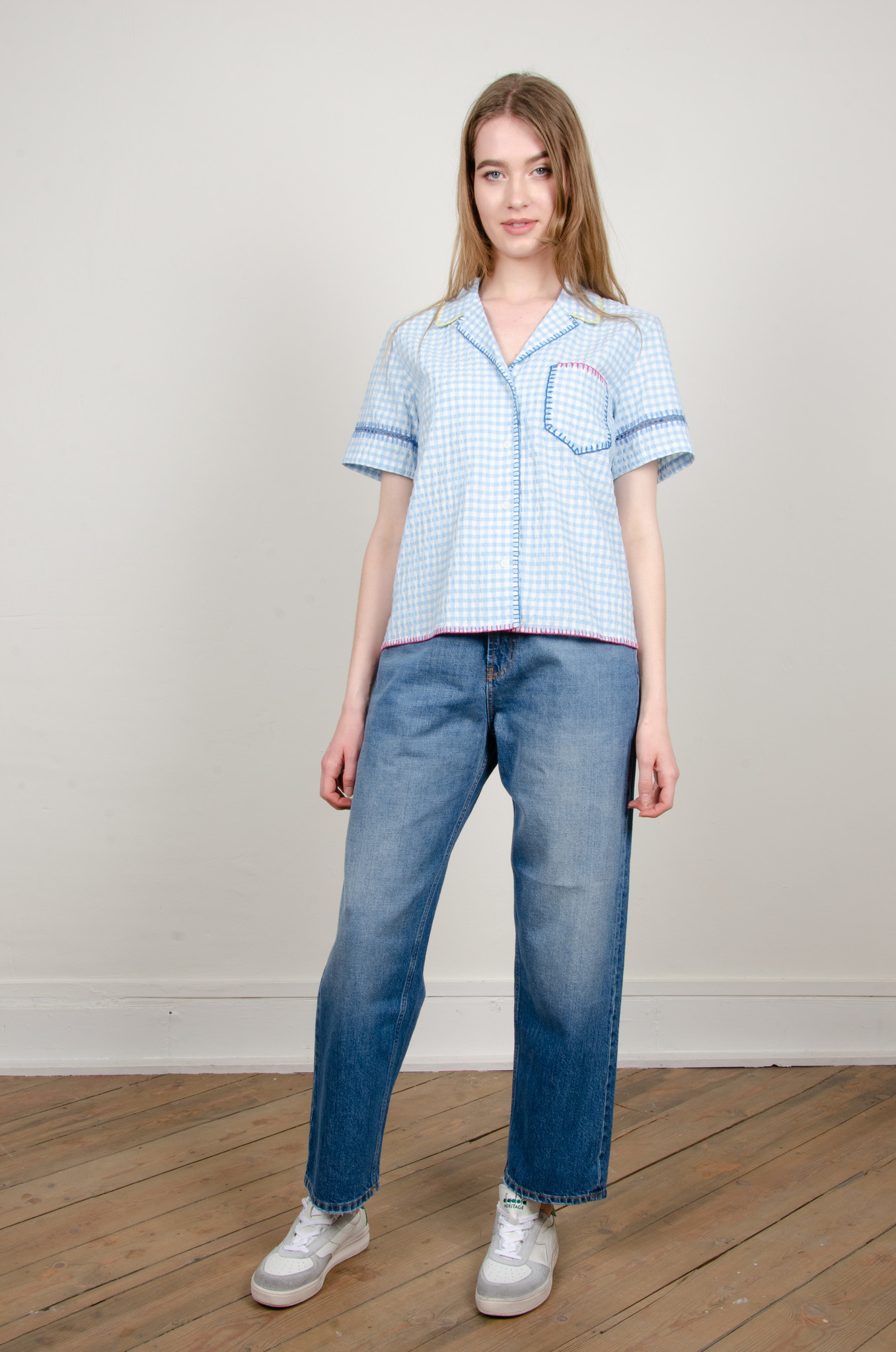 GINGHAM YARN EMBROIDERED SHIRT-6