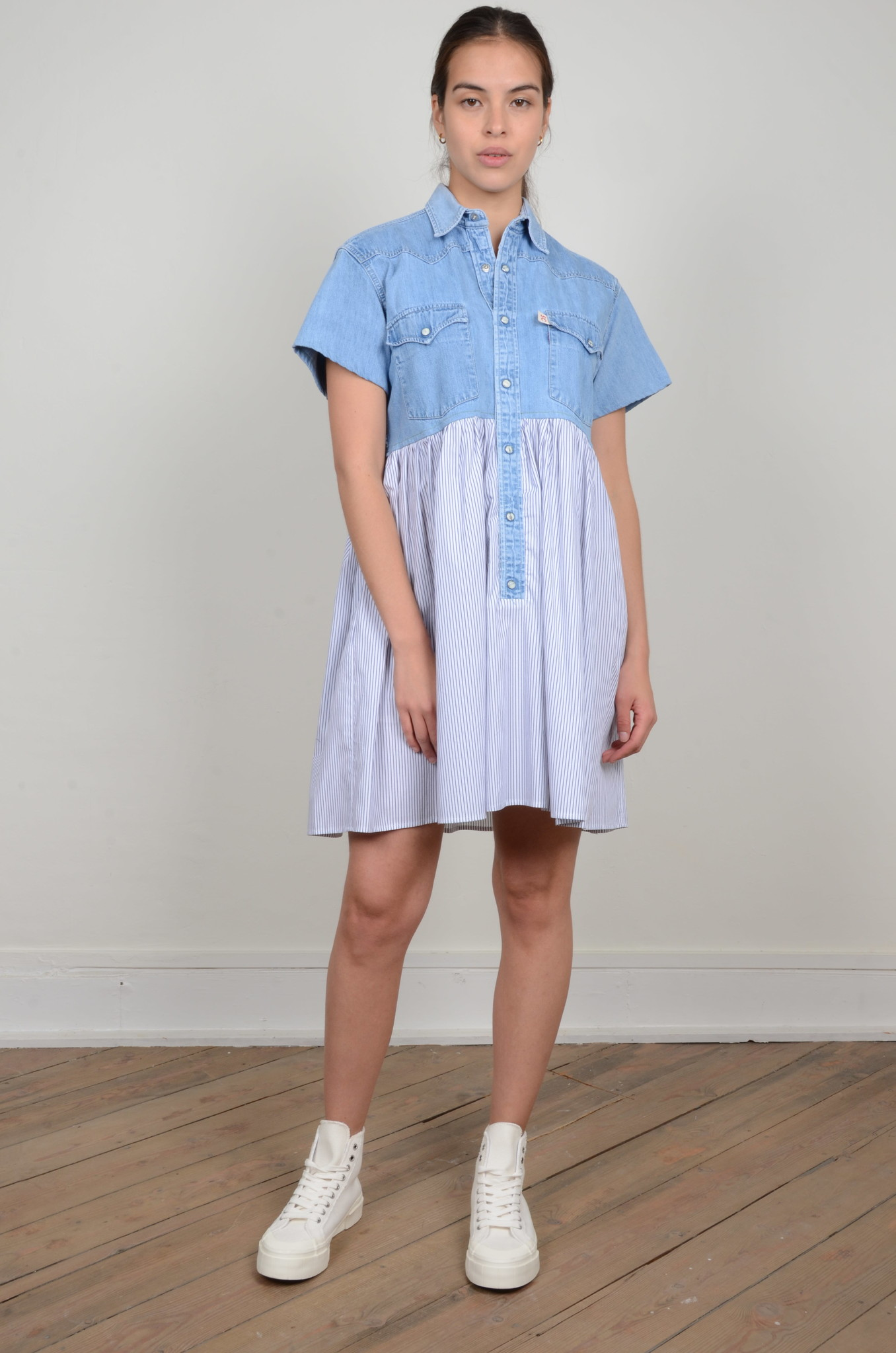 DENIM SHIRT PANEL DRESS-1