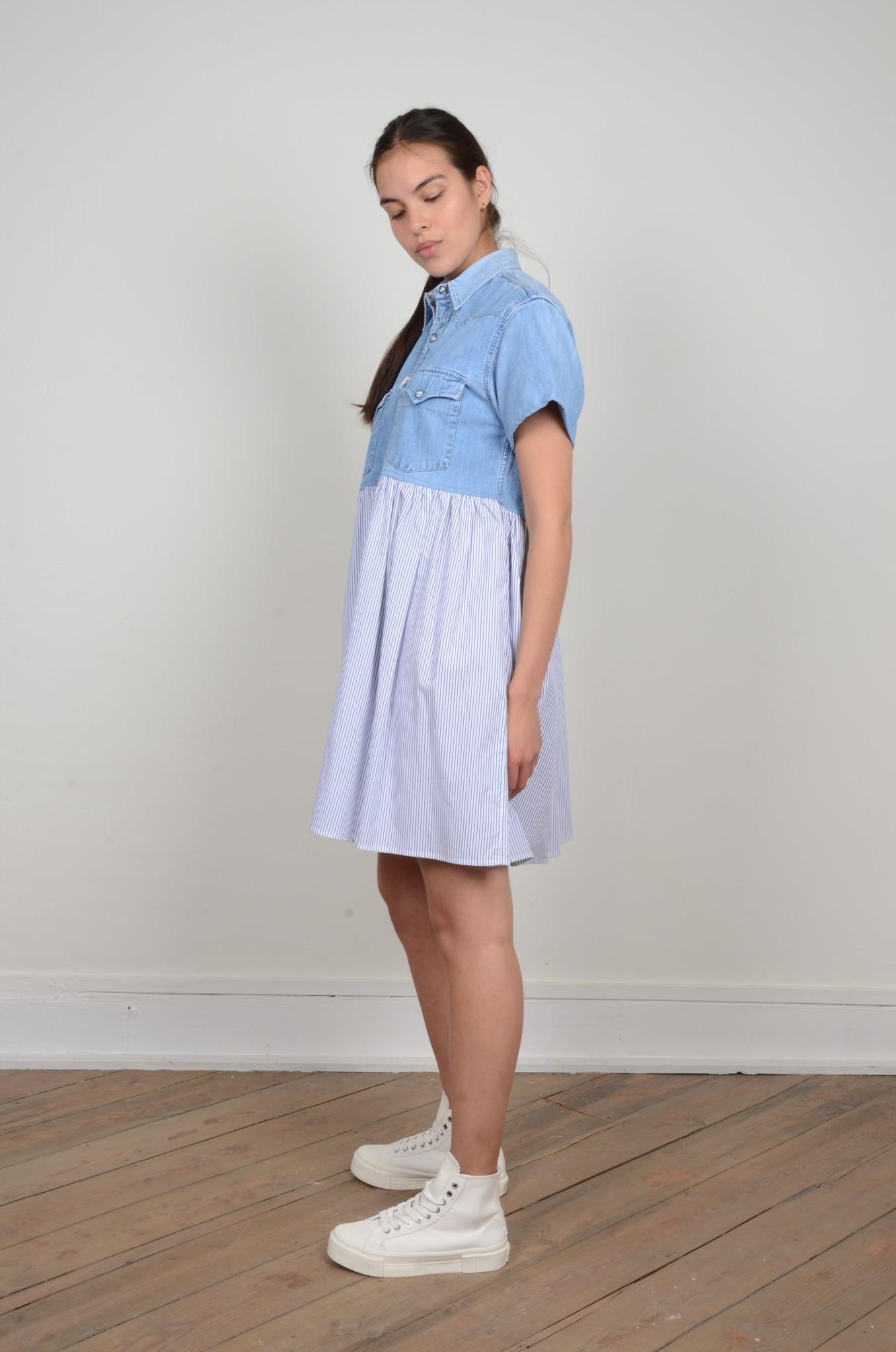 DENIM SHIRT PANEL DRESS-2