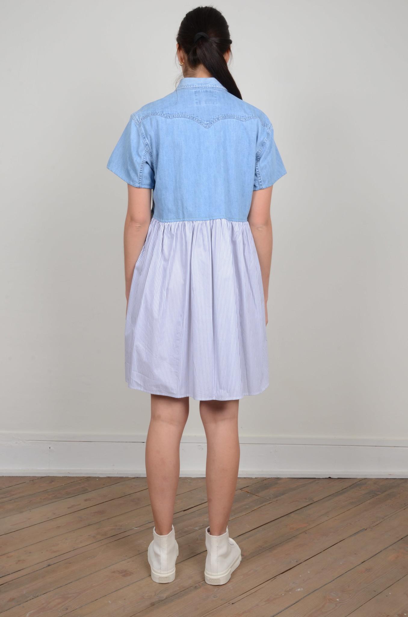 DENIM SHIRT PANEL DRESS-3