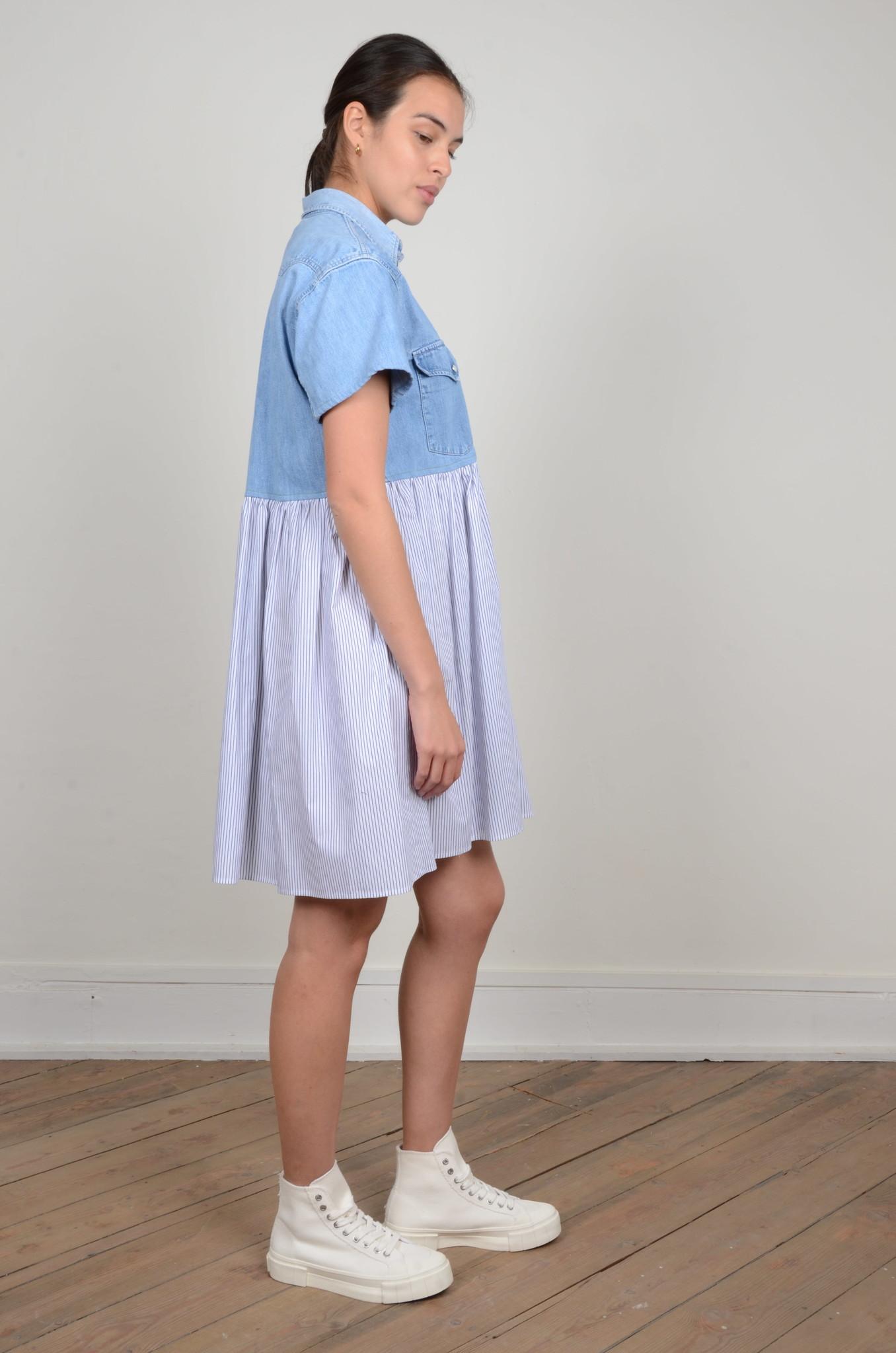 DENIM SHIRT PANEL DRESS-4