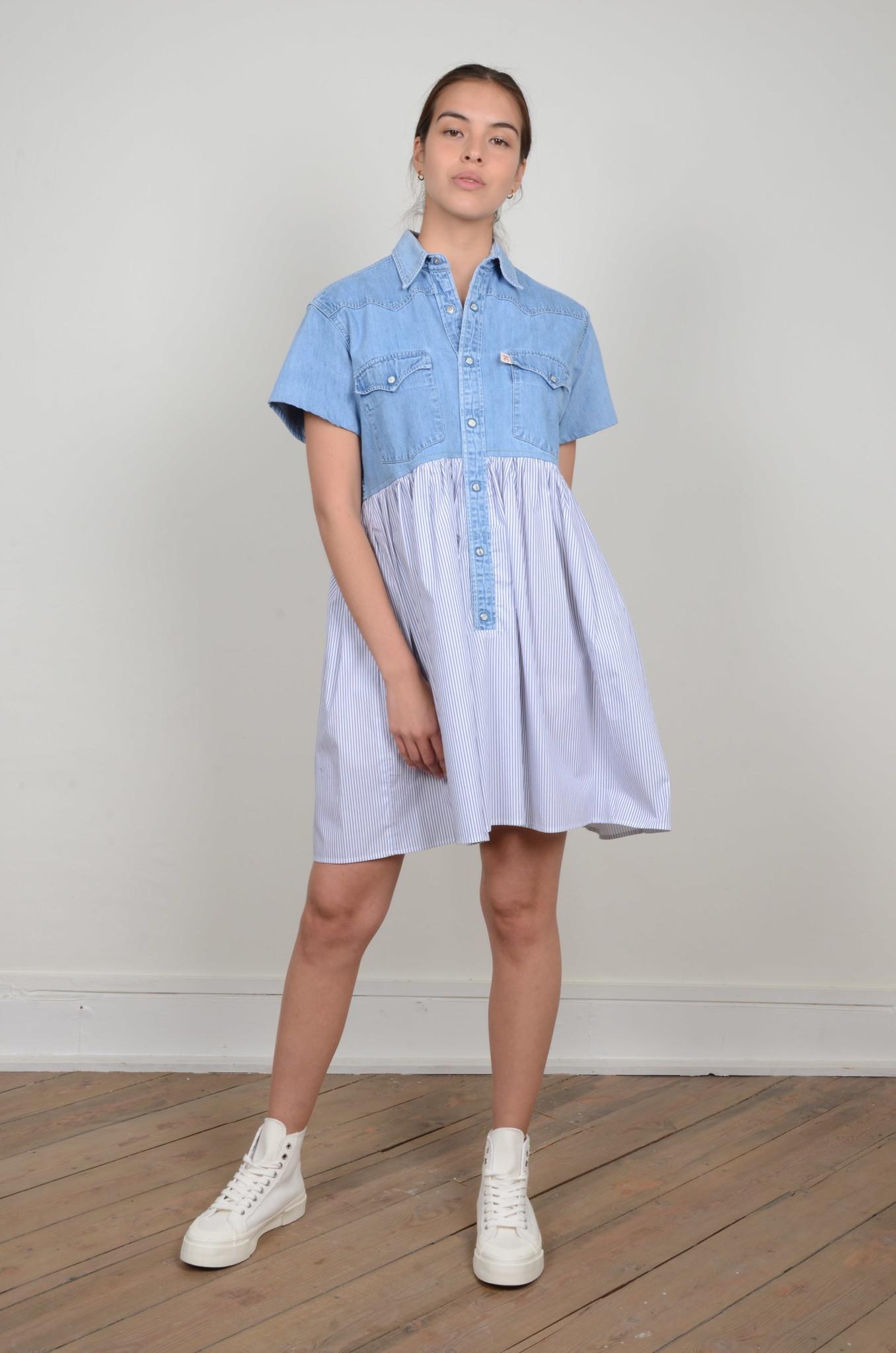 DENIM SHIRT PANEL DRESS-5