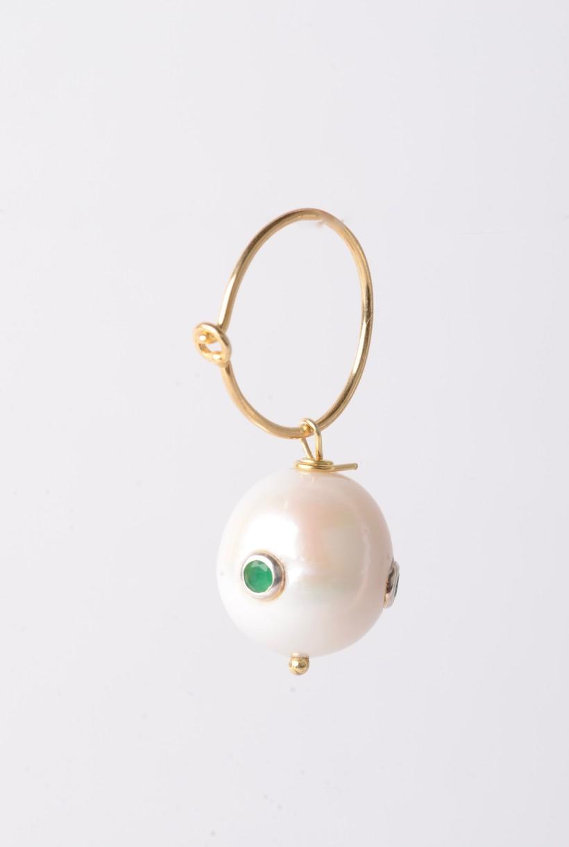 Pearl Earring with Zirconia Stones