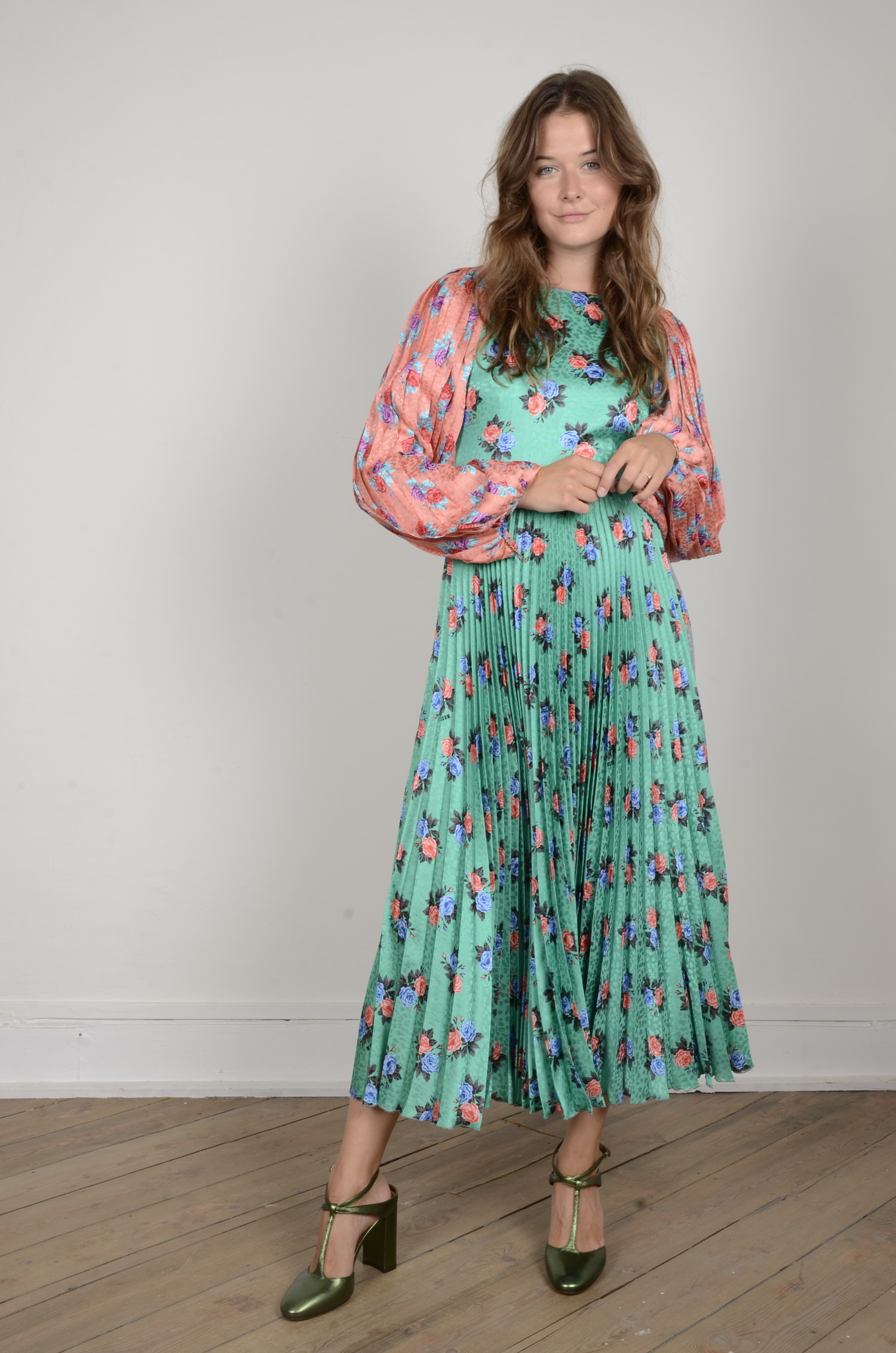 PLEATED FLORAL DRESS-1