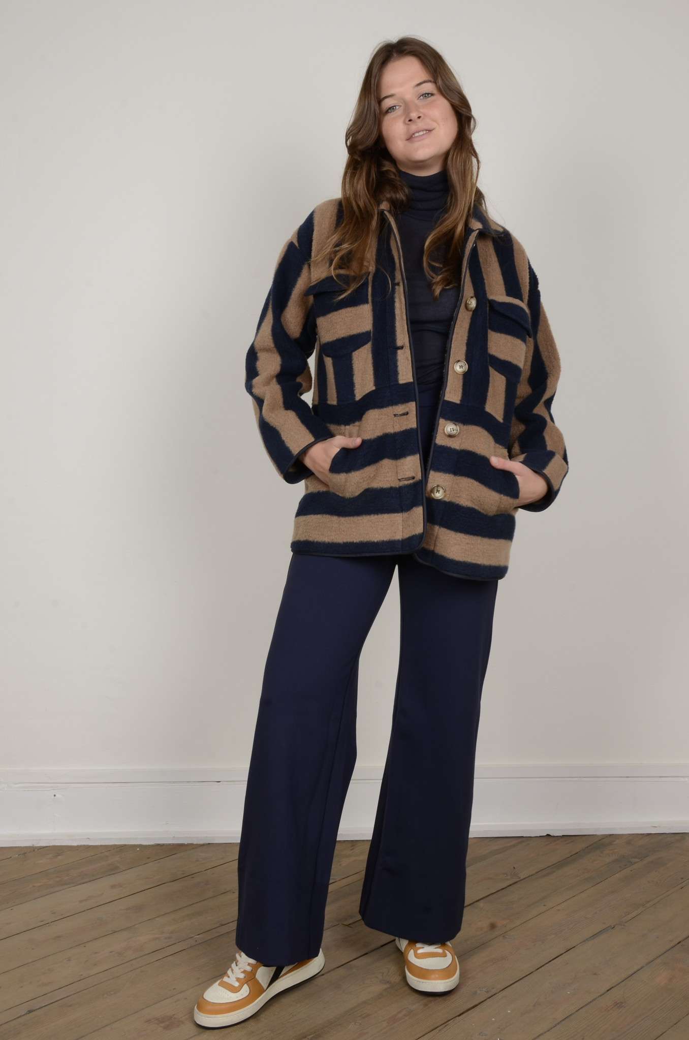 NAVY FLARED TROUSERS-7