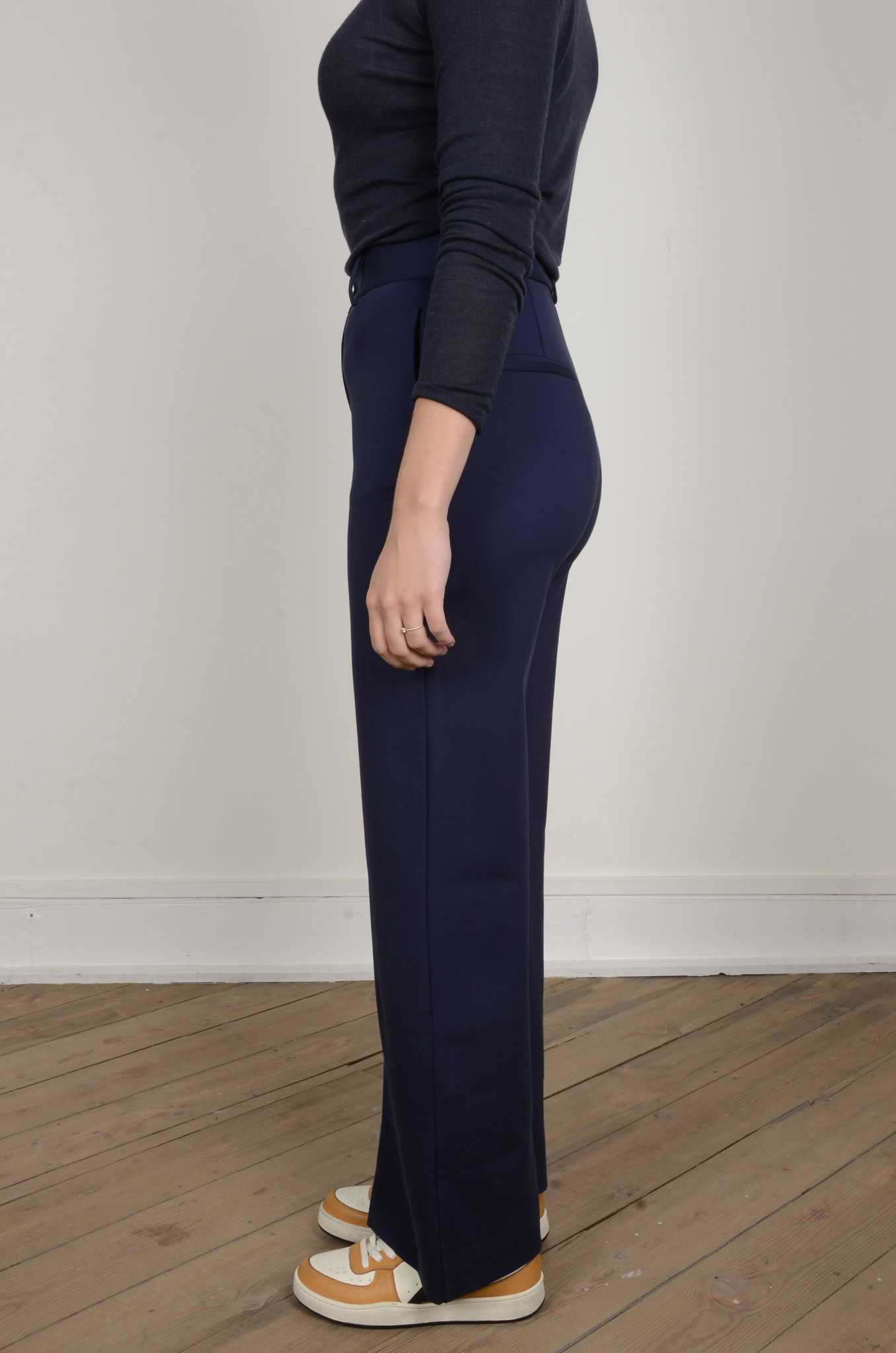 NAVY FLARED TROUSERS-2