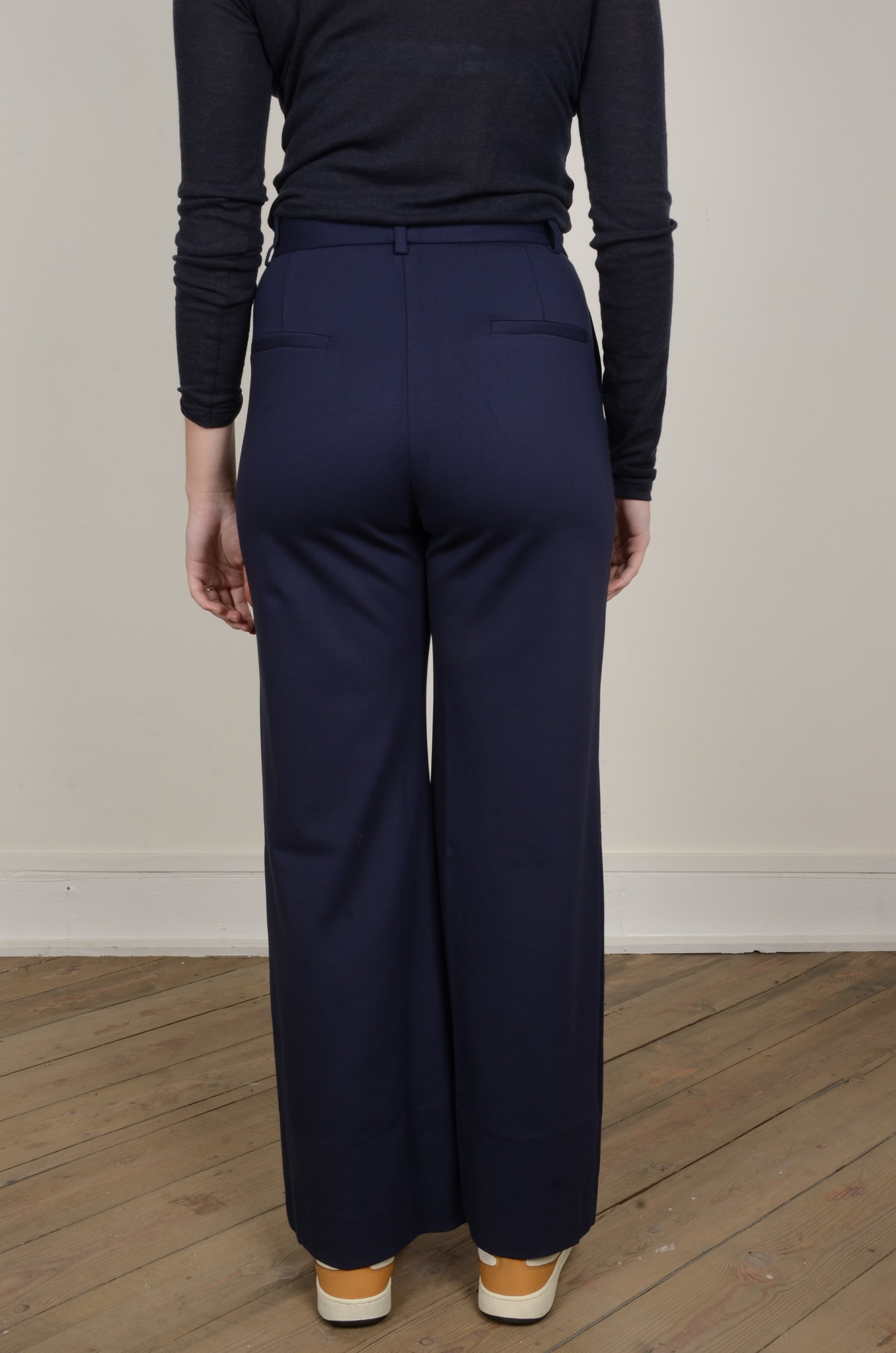 NAVY FLARED TROUSERS-3