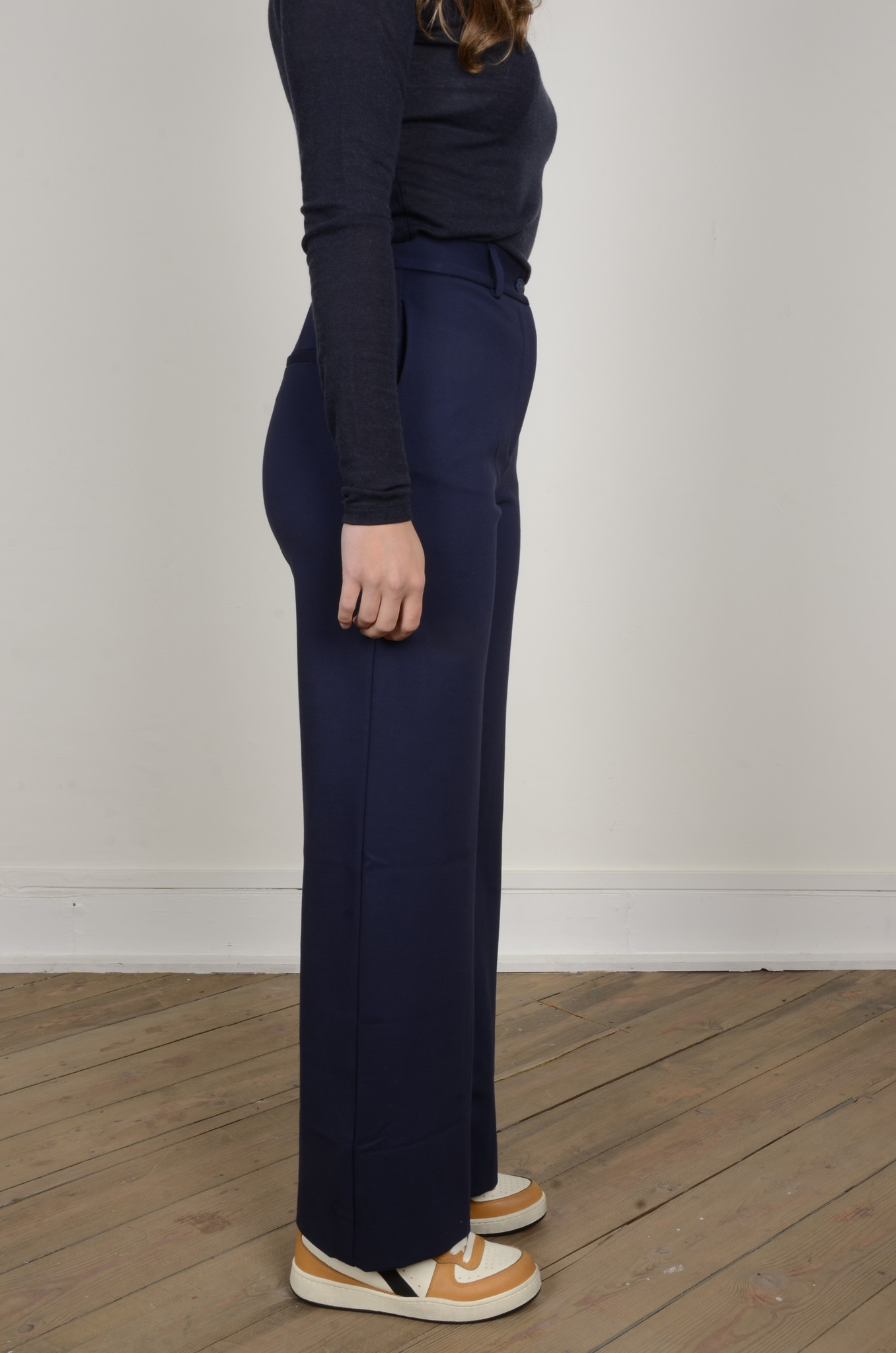 NAVY FLARED TROUSERS-4