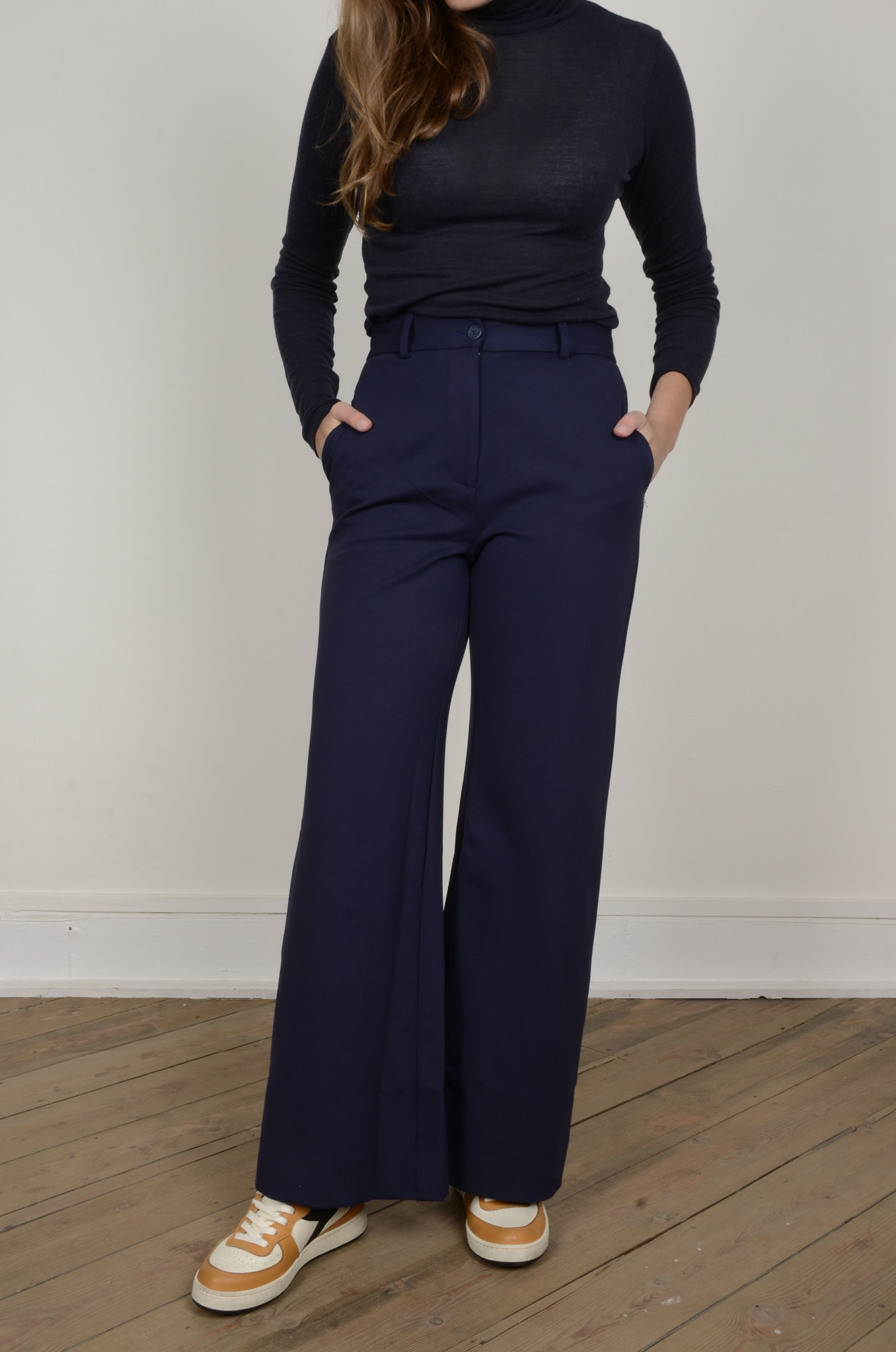 NAVY FLARED TROUSERS-1