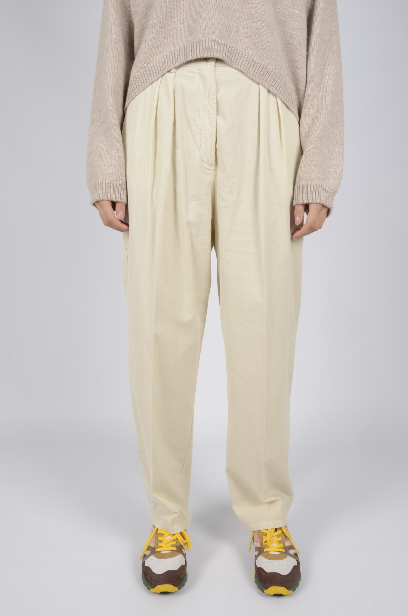 BABY RIB PLEATED TROUSERS-1
