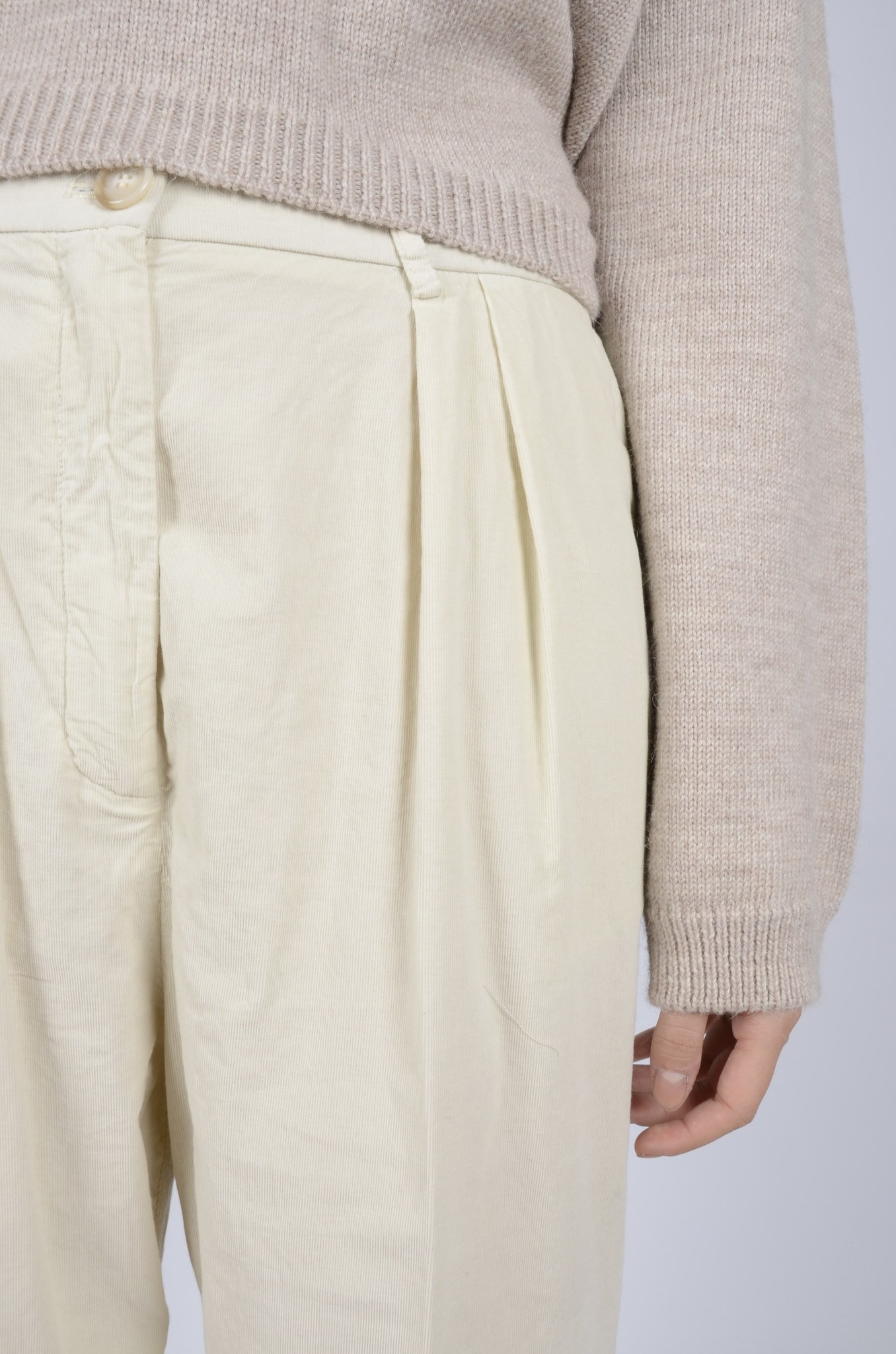 BABY RIB PLEATED TROUSERS-5