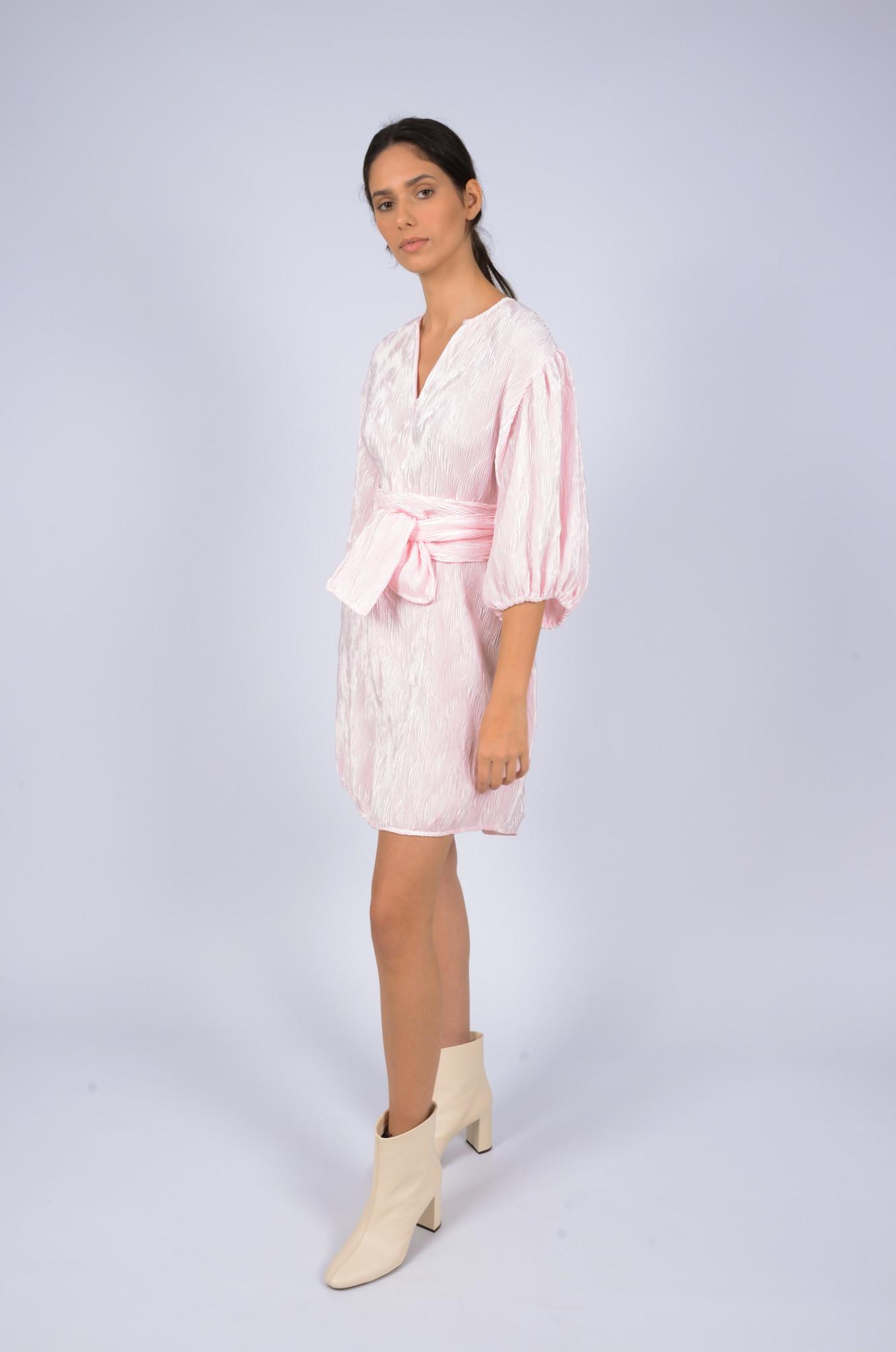 PLEATED SATIN WIDE DRESS-1