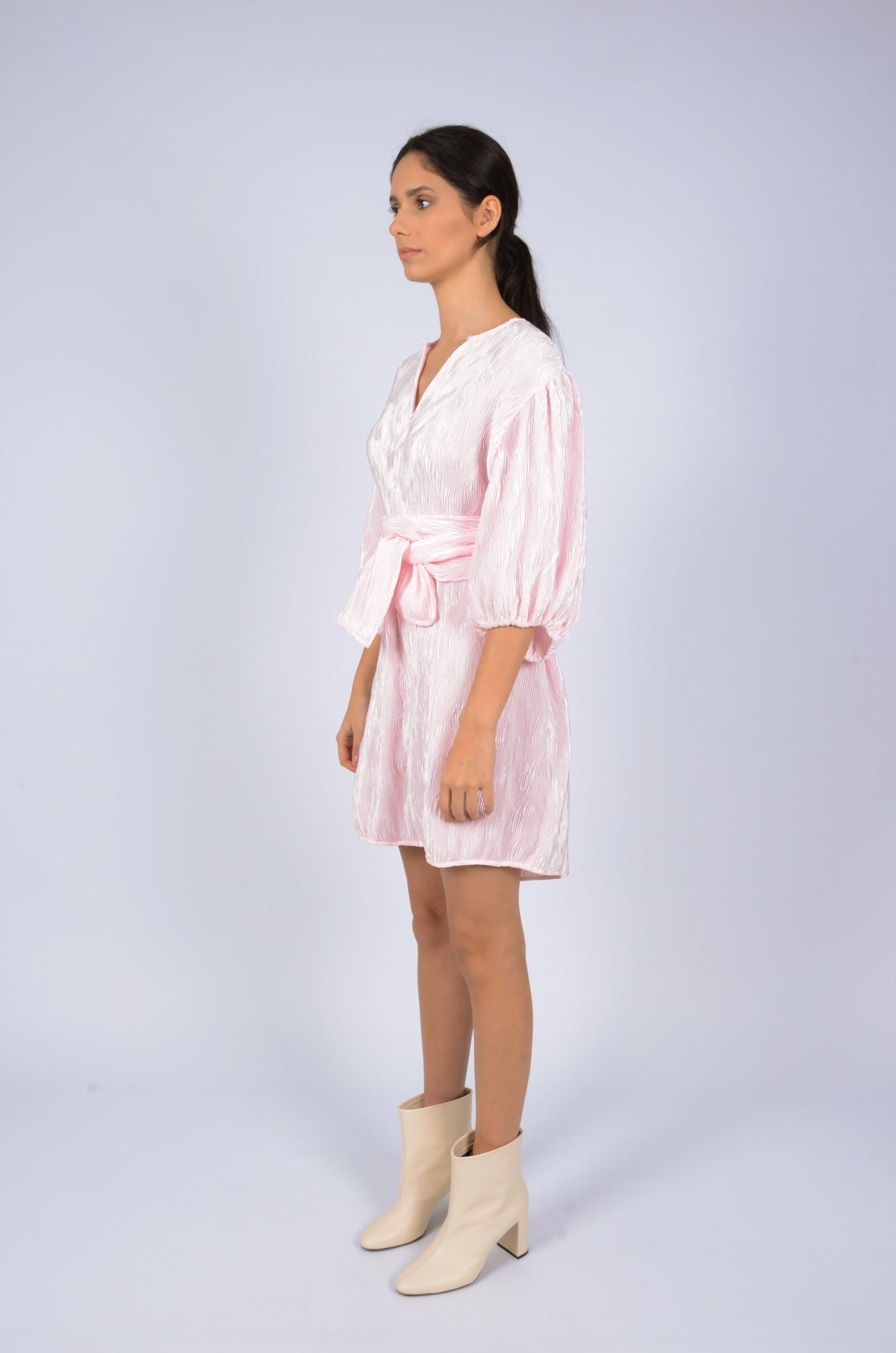 PLEATED SATIN WIDE DRESS-2