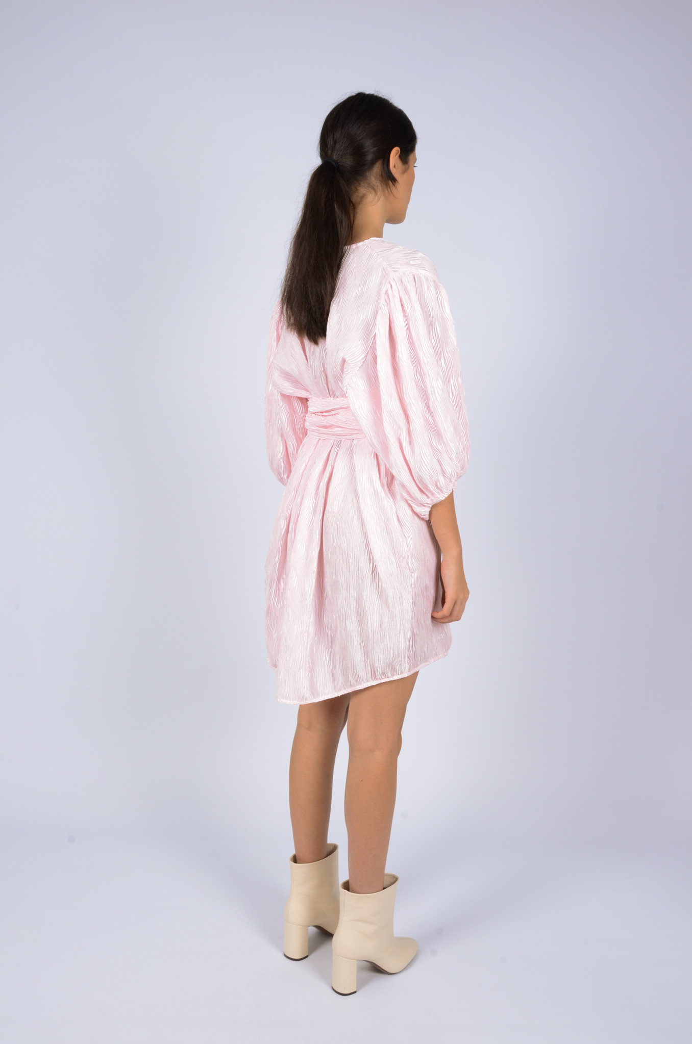 PLEATED SATIN WIDE DRESS-3