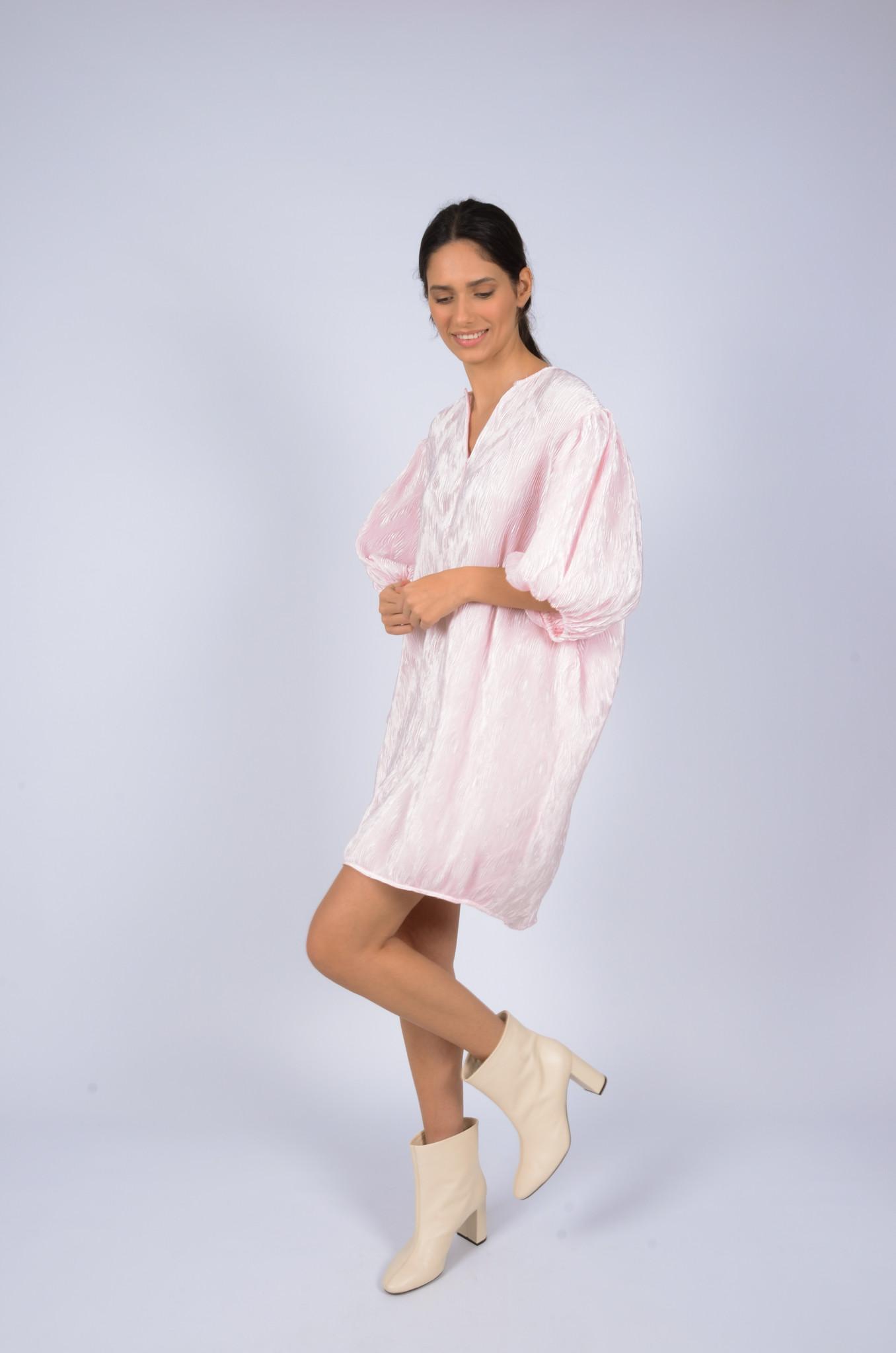 PLEATED SATIN WIDE DRESS-7