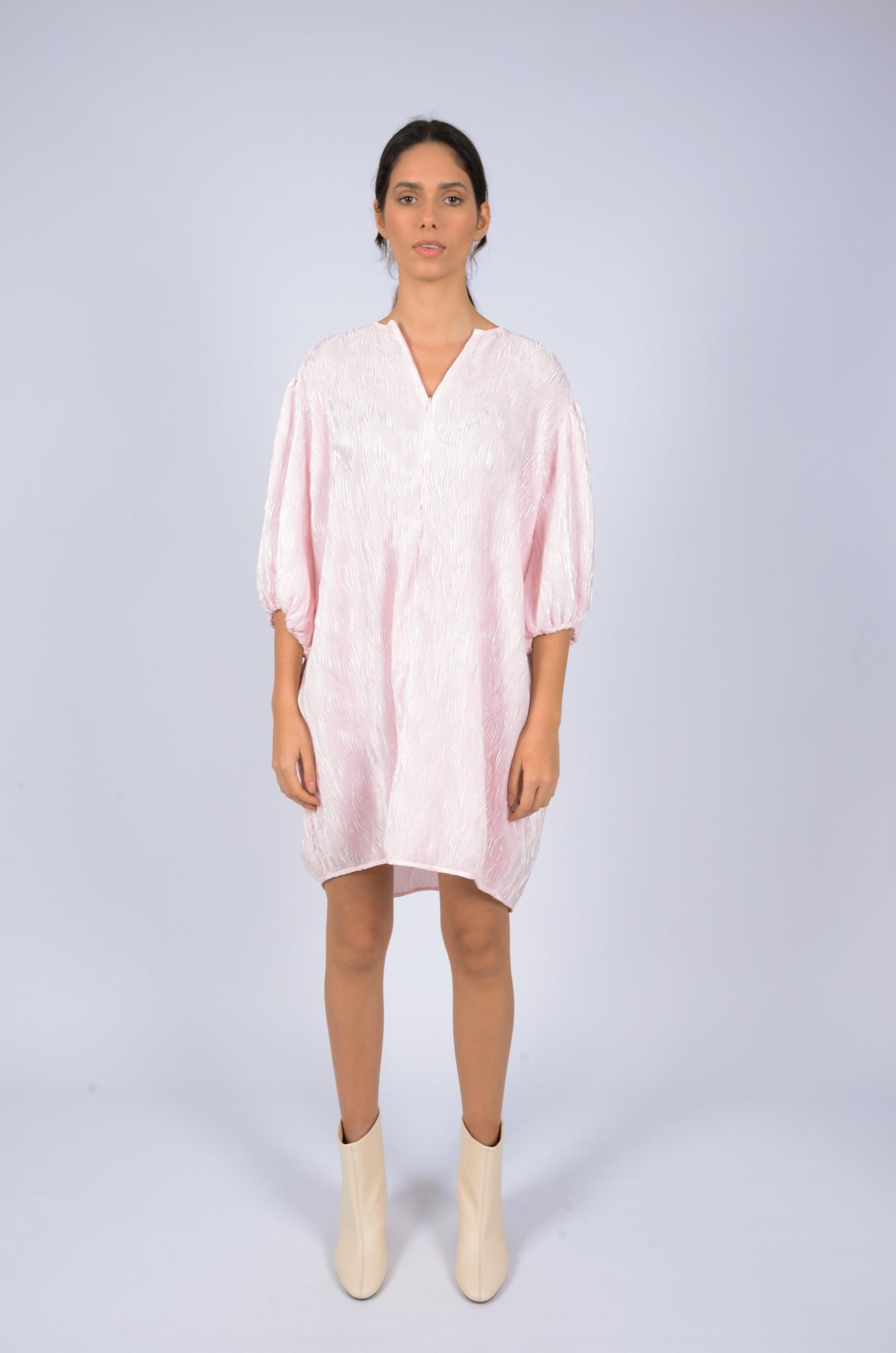 PLEATED SATIN WIDE DRESS-4
