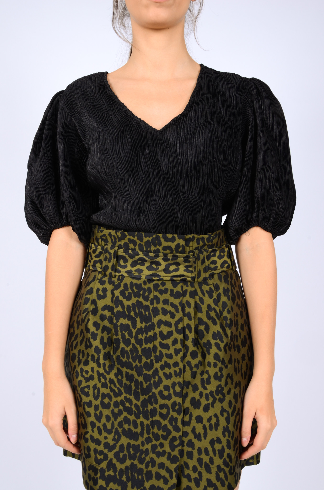 PLEATED SATIN BLOUSE IN BLACK-2