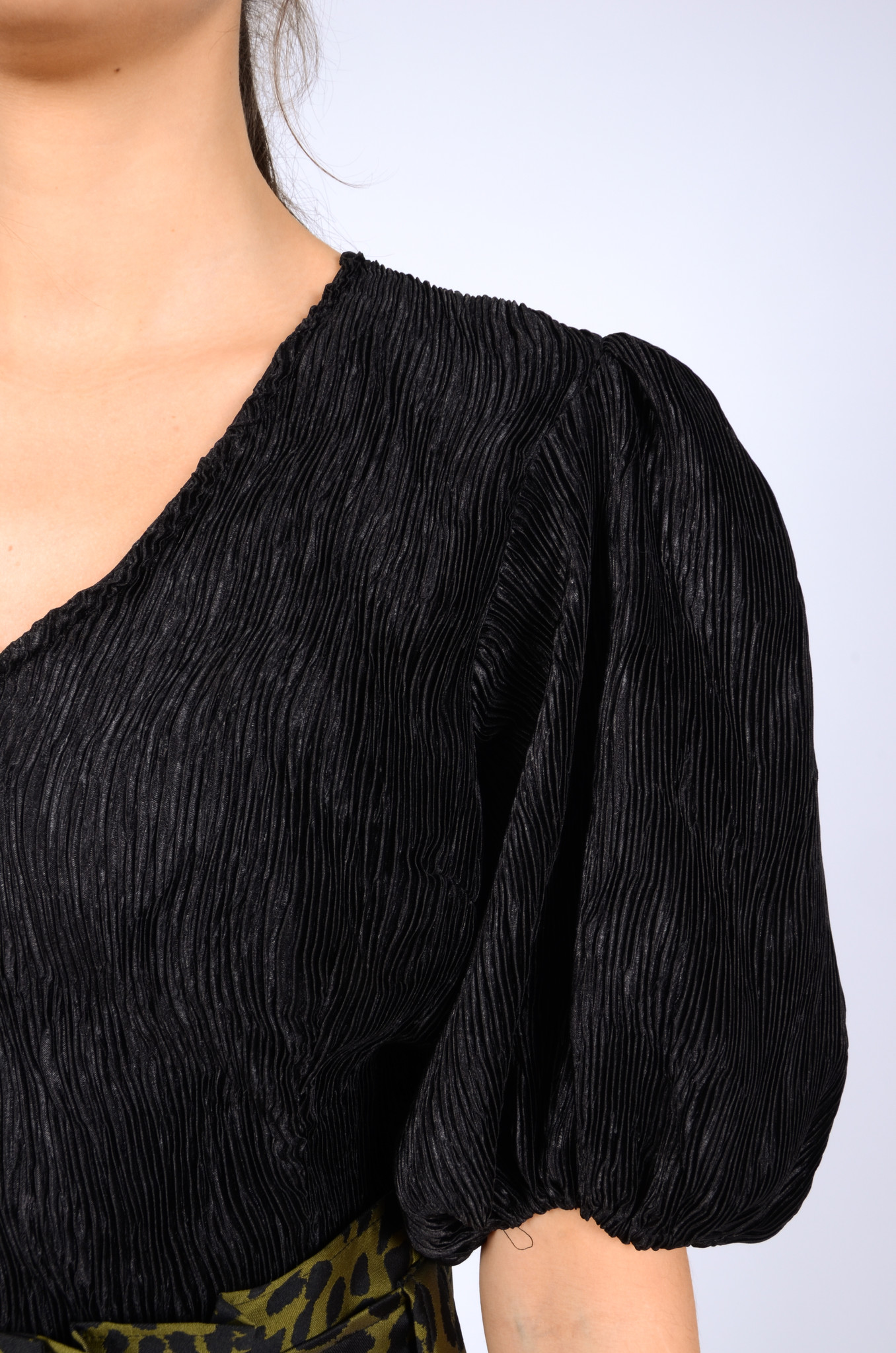 PLEATED SATIN BLOUSE IN BLACK-5