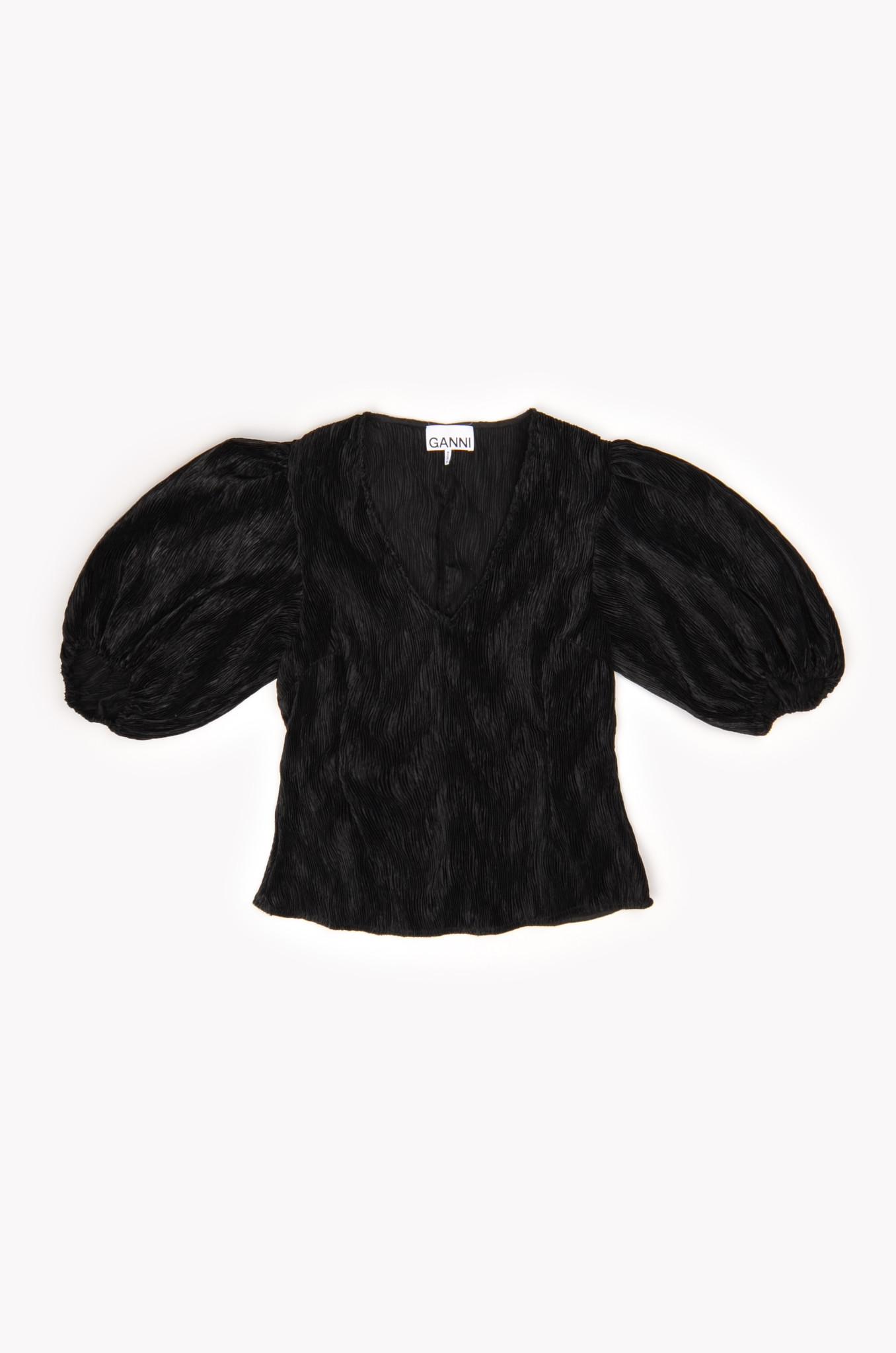 PLEATED SATIN BLOUSE IN BLACK-1