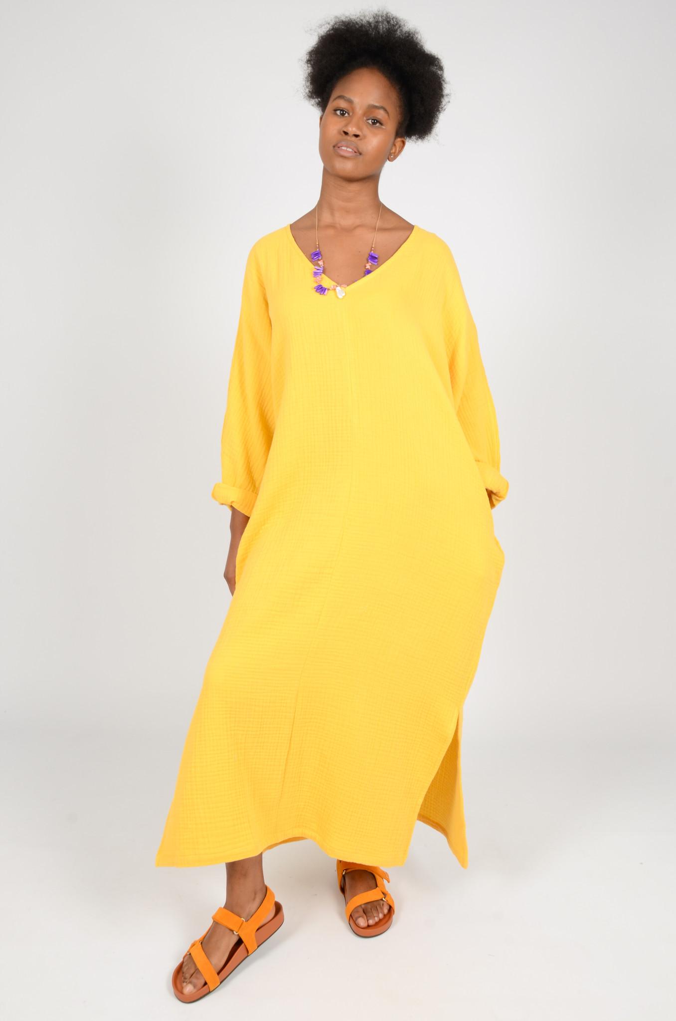 SONEVA DRESS IN BANANA YELLOW-5