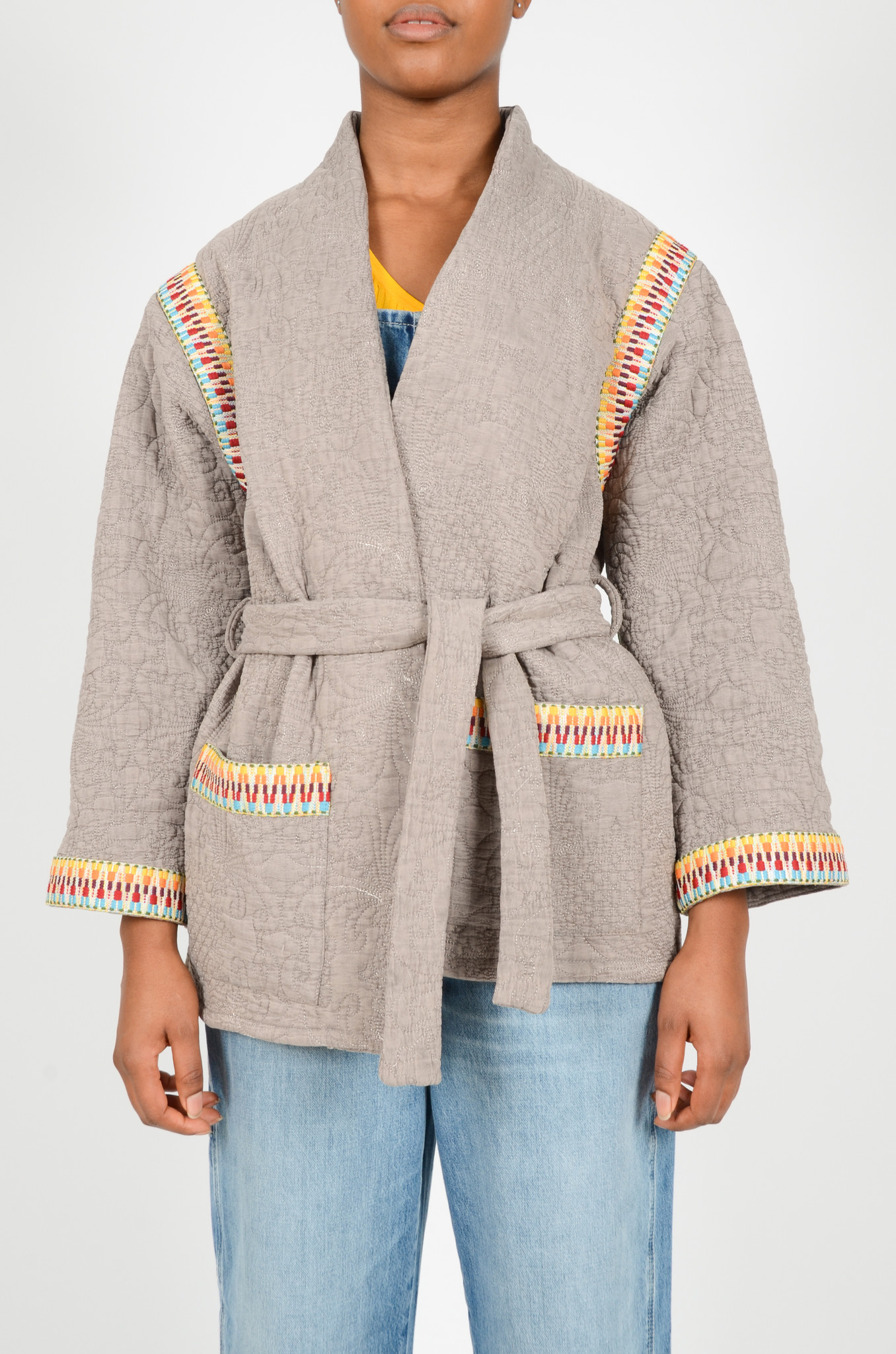 QUILTED GREY JACKET  WITH SLEEVES-1
