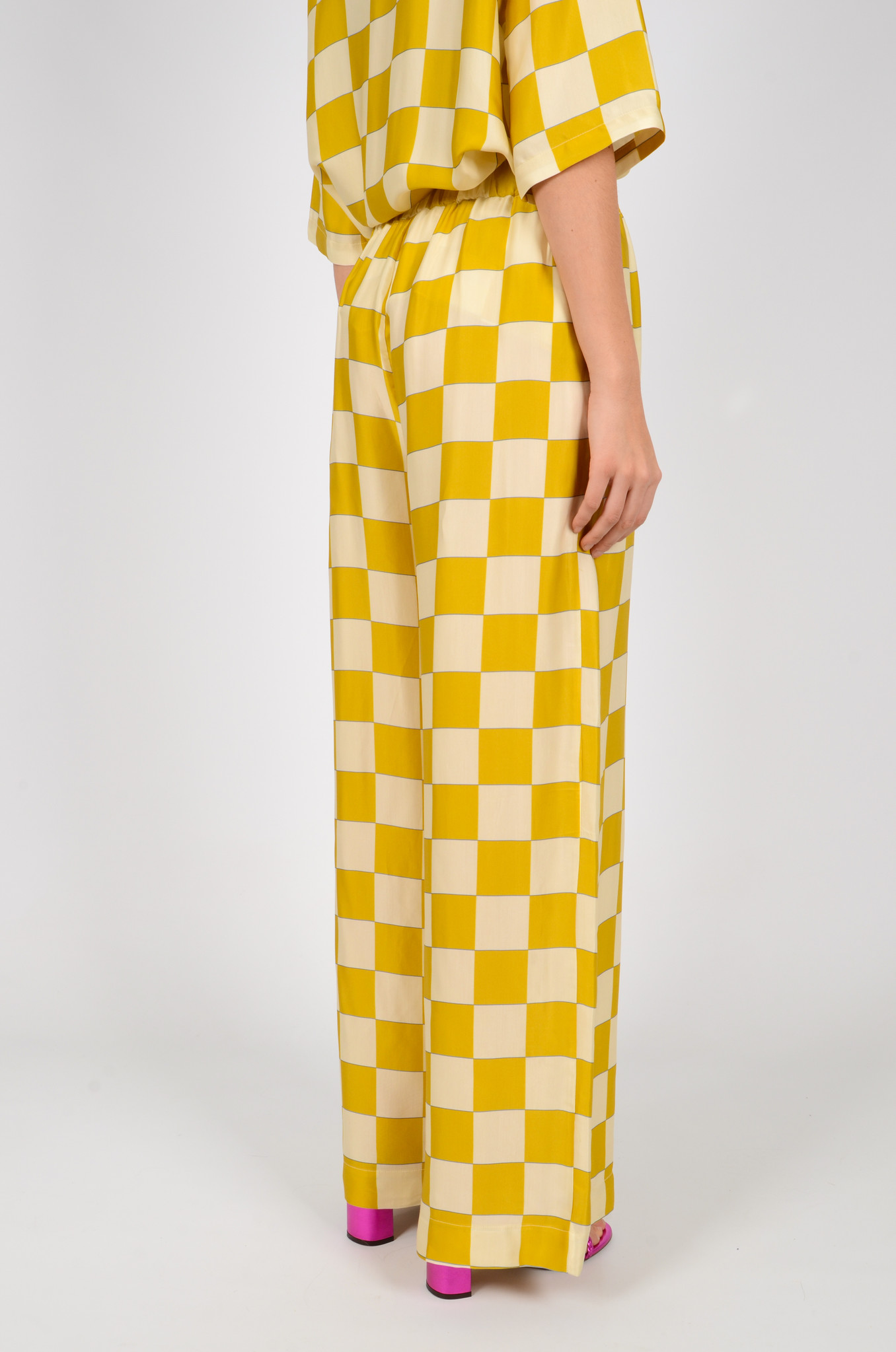 CHECKERED SATIN TROUSERS-4