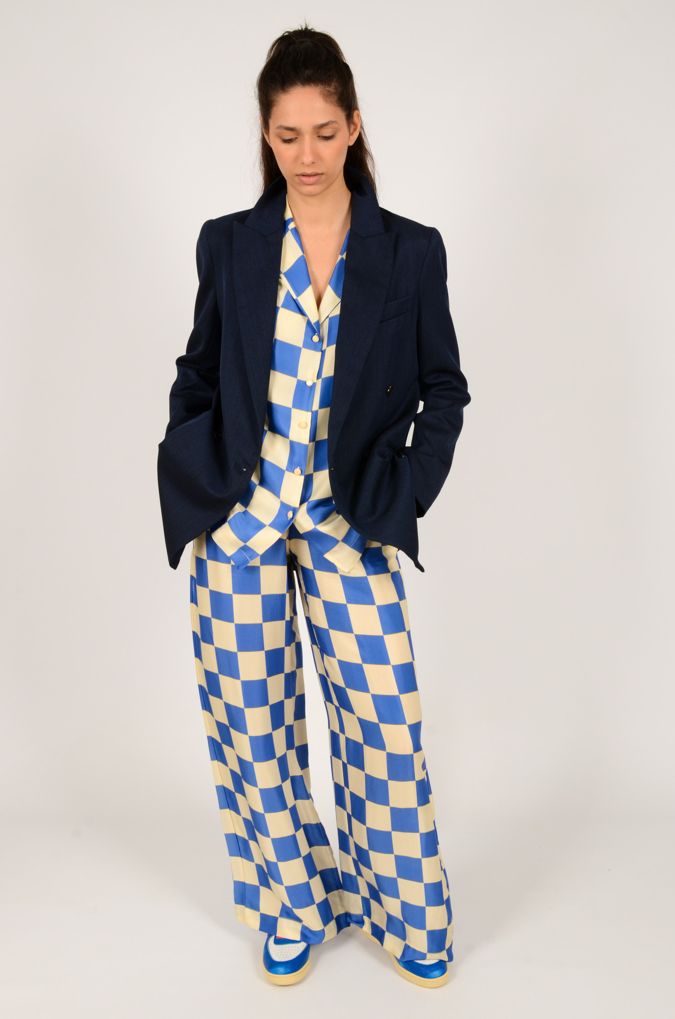 CHECKERED SATIN TROUSERS-6