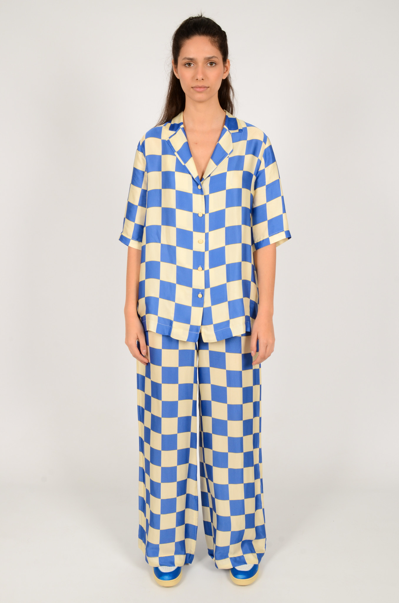 CHECKERED SATIN TROUSERS-5