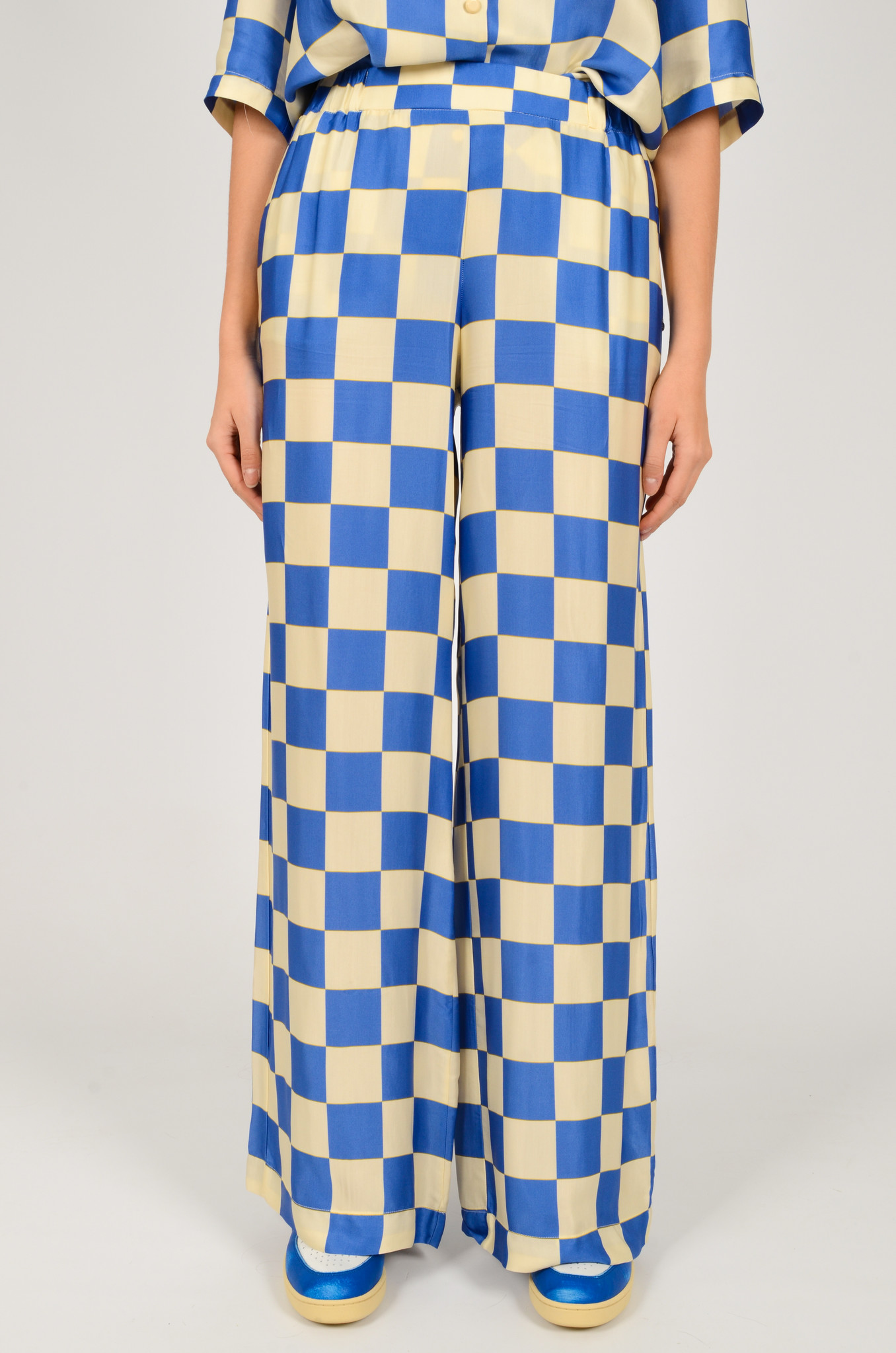 CHECKERED SATIN TROUSERS-1
