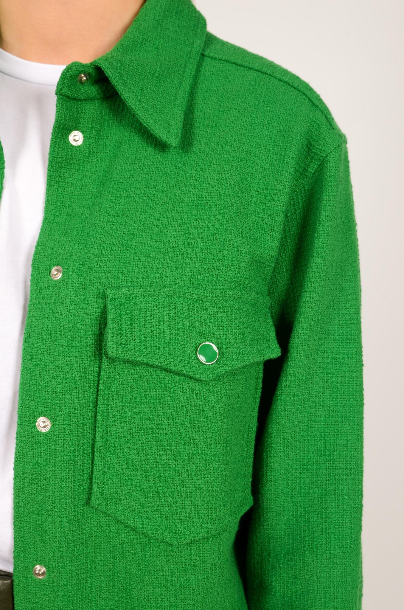 GREEN TEXTURED SHIRT JACKET-5