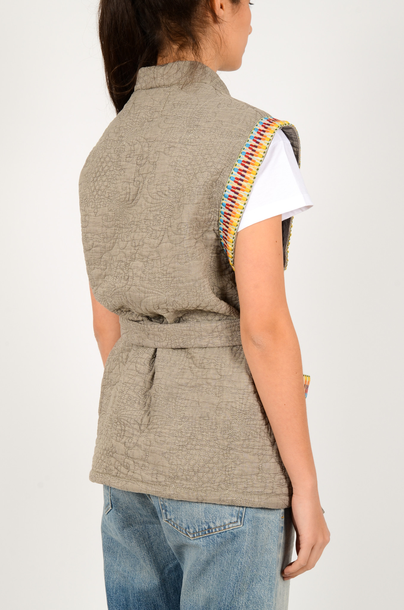 QUILTED SLEEVELESS JACKET GREY-3