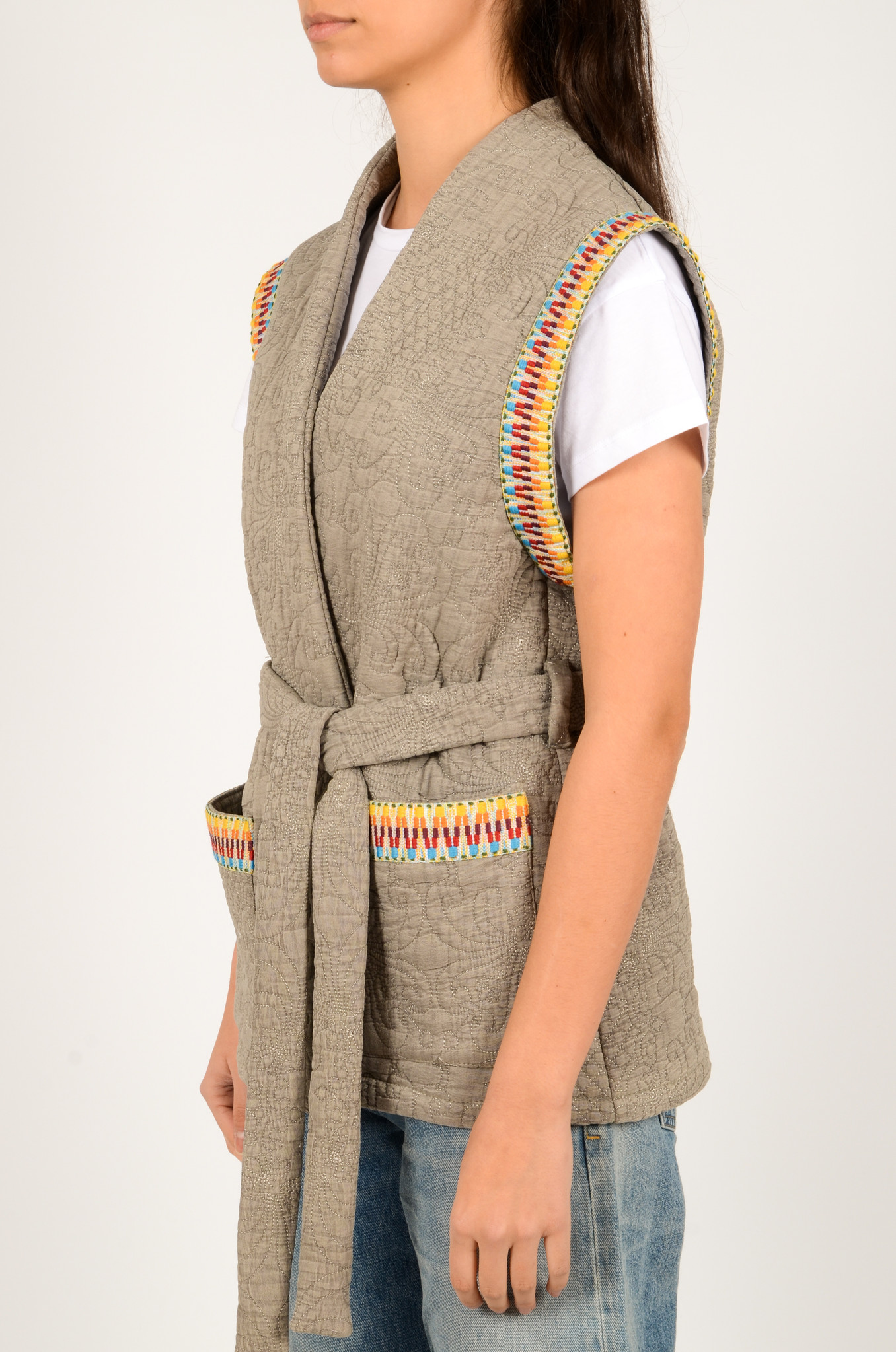 QUILTED SLEEVELESS JACKET GREY-4