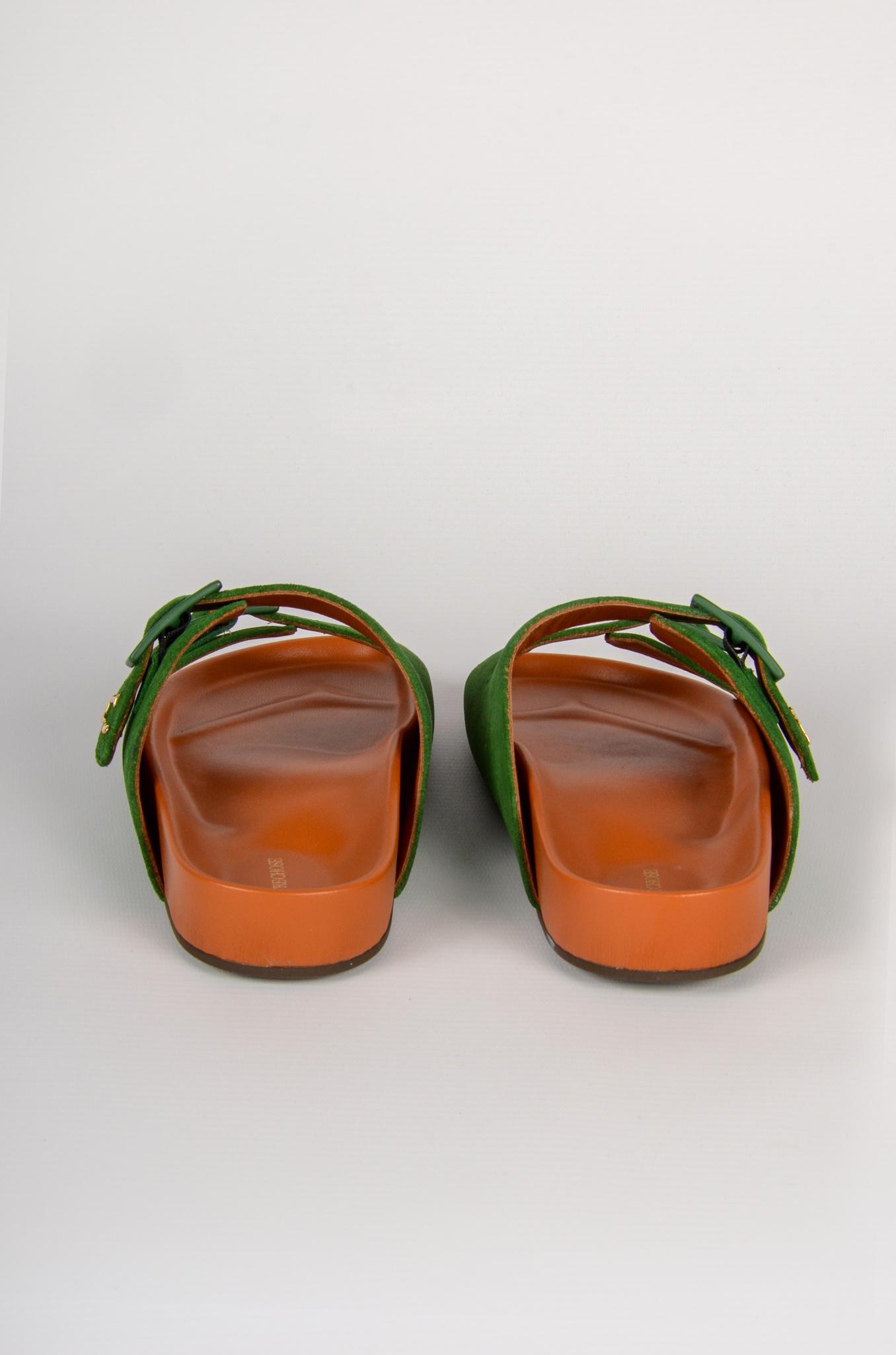 GREEN SUEDE SANDALS-2