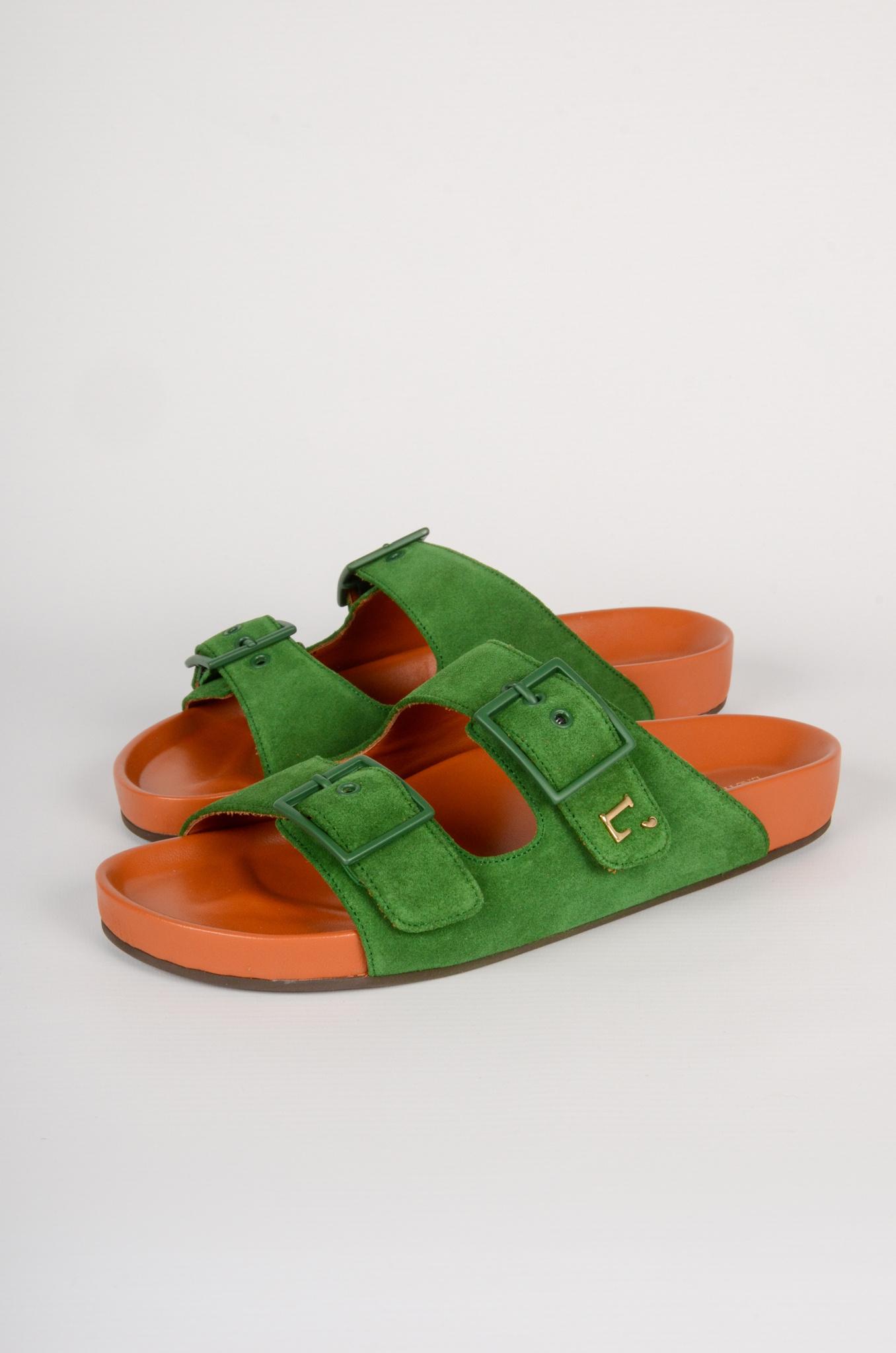 GREEN SUEDE SANDALS-1