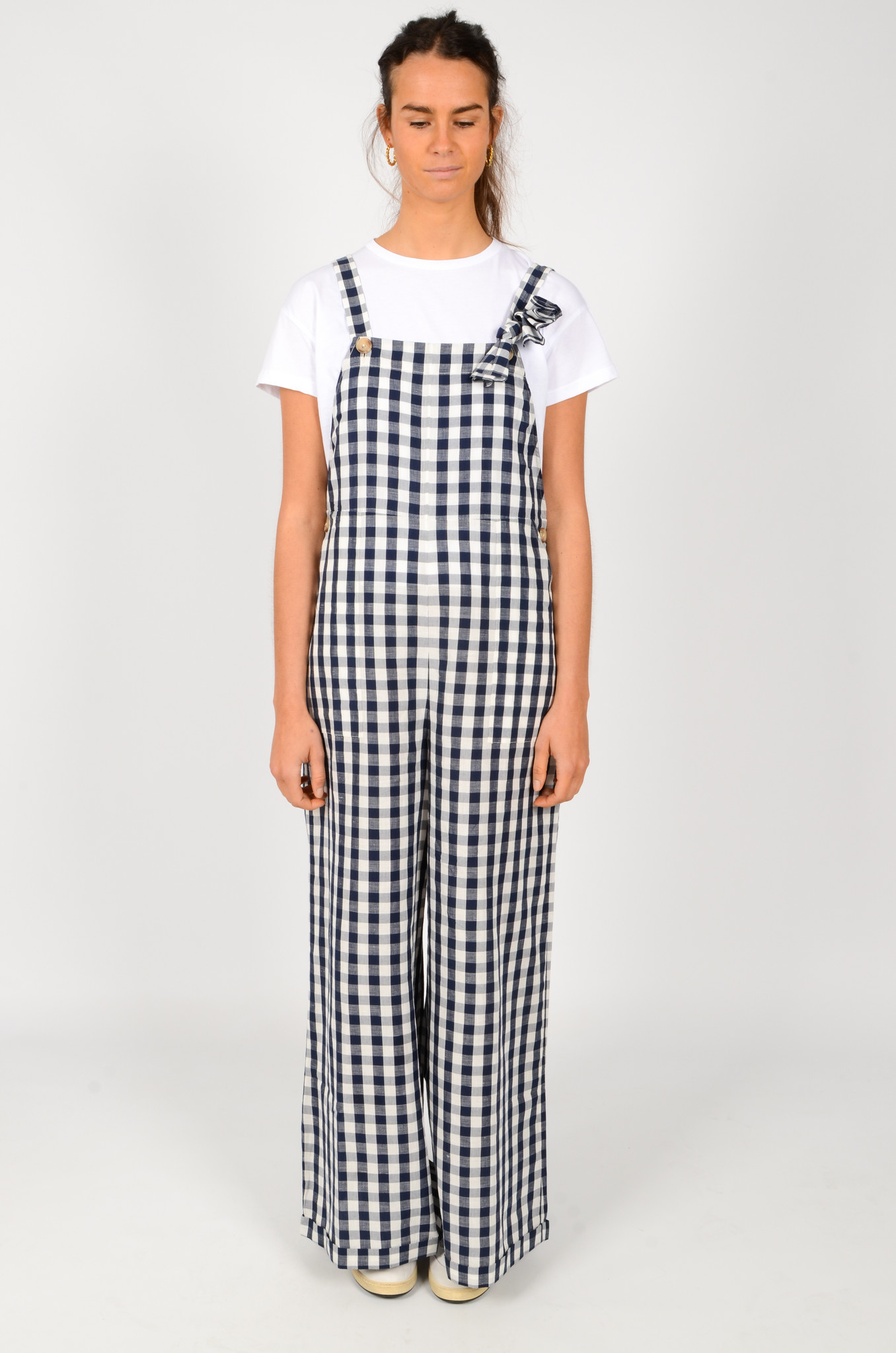 WIDE GINGHAM DUNGAREES-1
