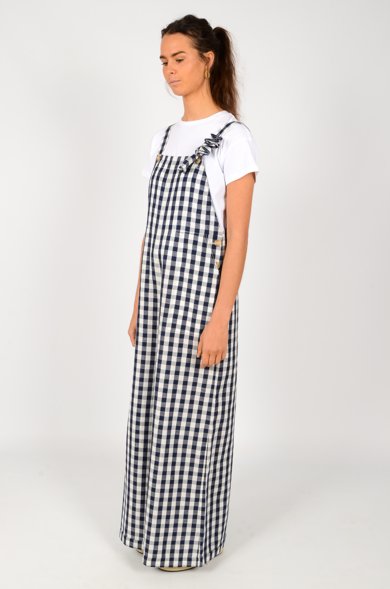 WIDE GINGHAM DUNGAREES-3