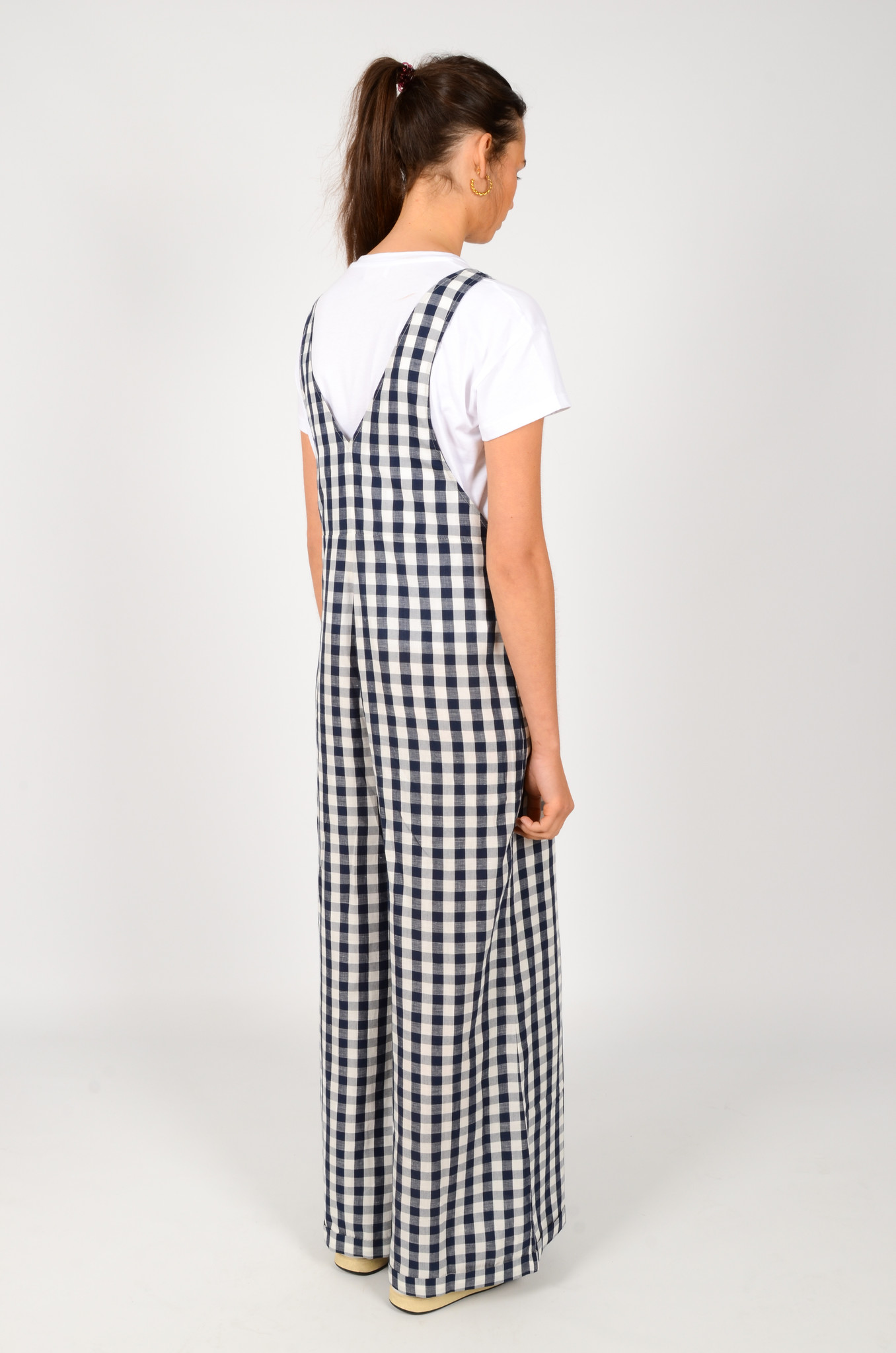 WIDE GINGHAM DUNGAREES-4