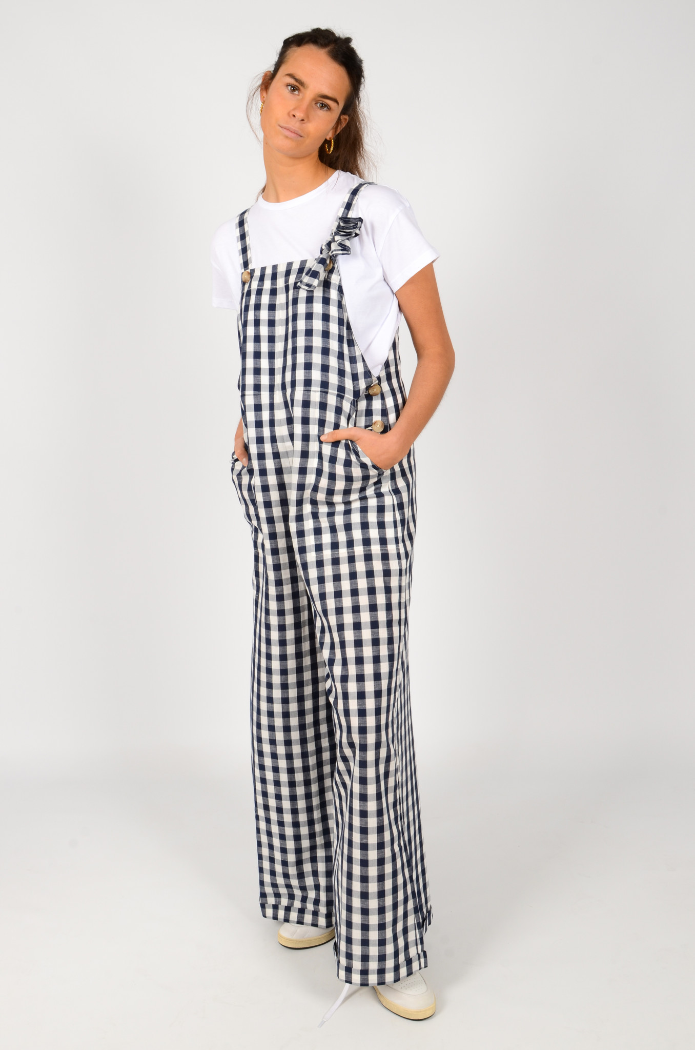 WIDE GINGHAM DUNGAREES-6
