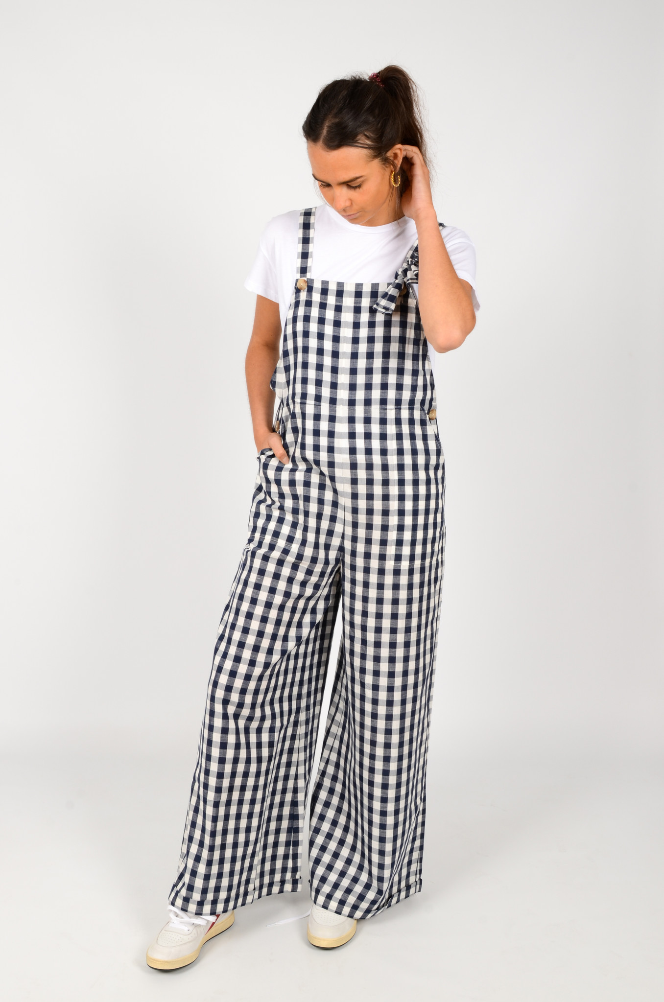 WIDE GINGHAM DUNGAREES-2