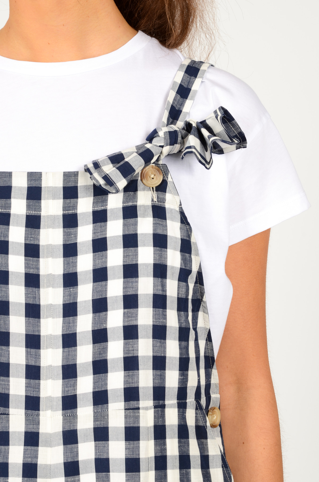 WIDE GINGHAM DUNGAREES-5