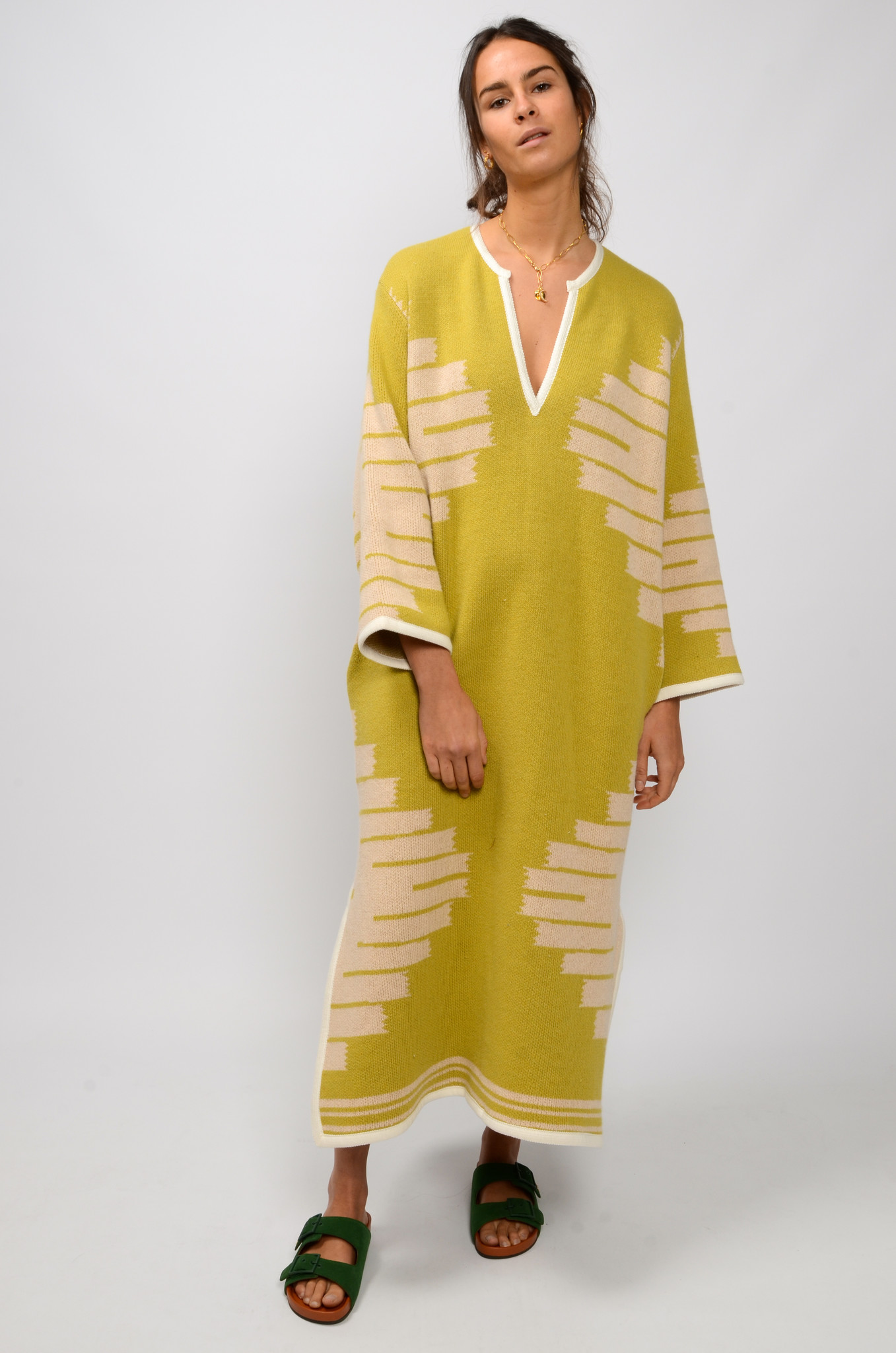 MANTA DJELLABA OLIVE DRESS-2