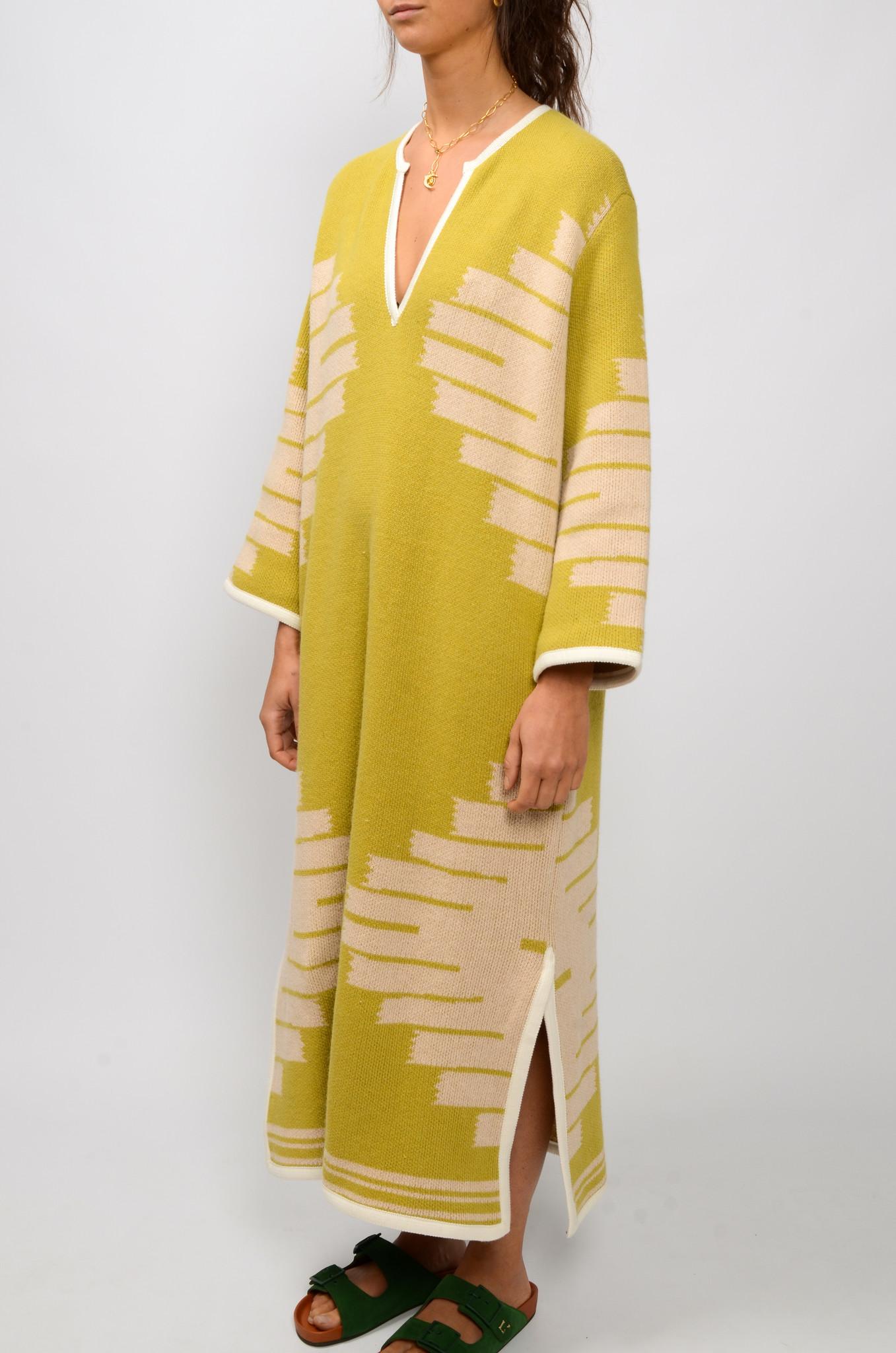 MANTA DJELLABA OLIVE DRESS-3