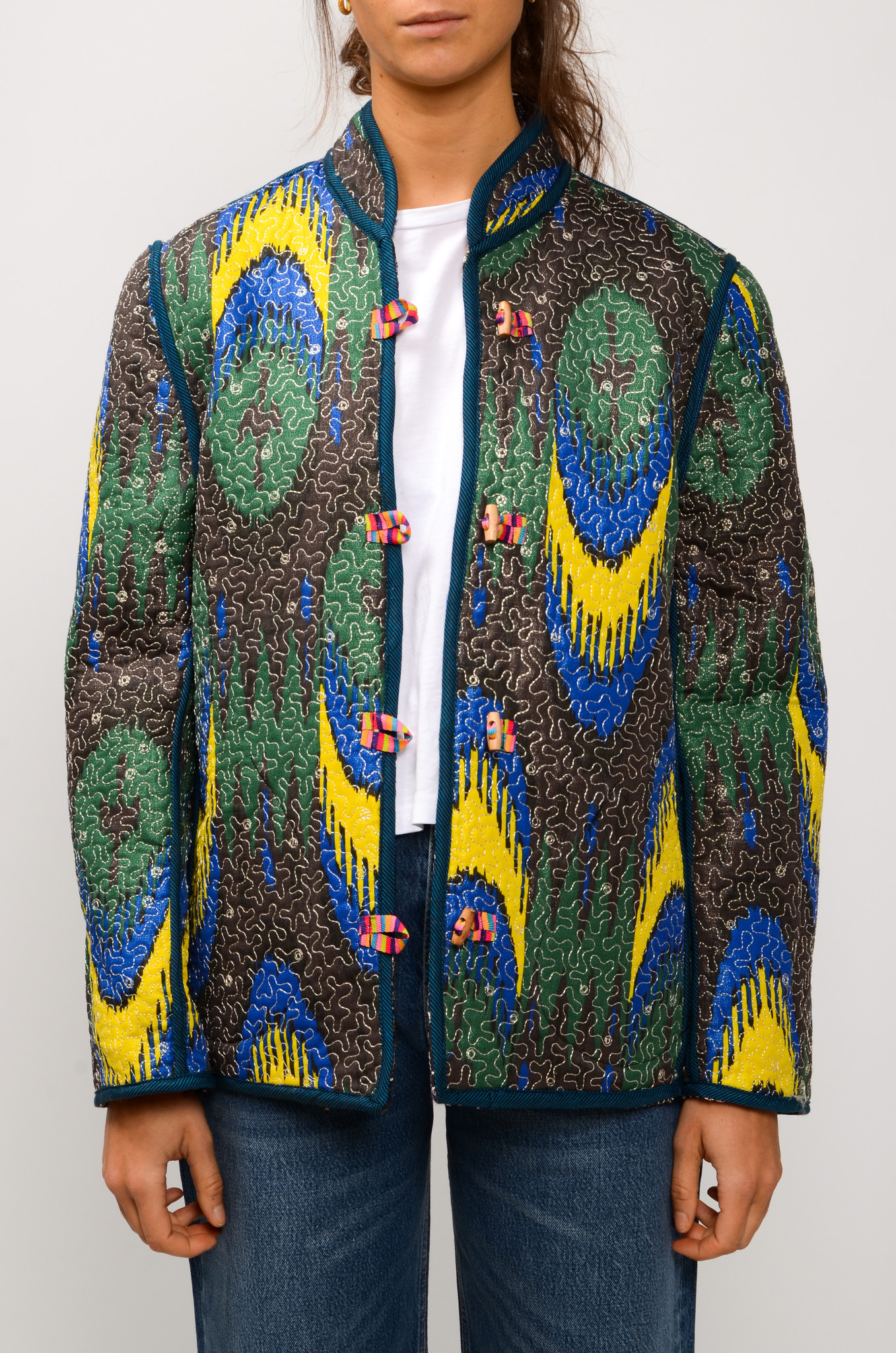 IKAT QUILTED JACKET ROYAL BLUE & YELLOW-1