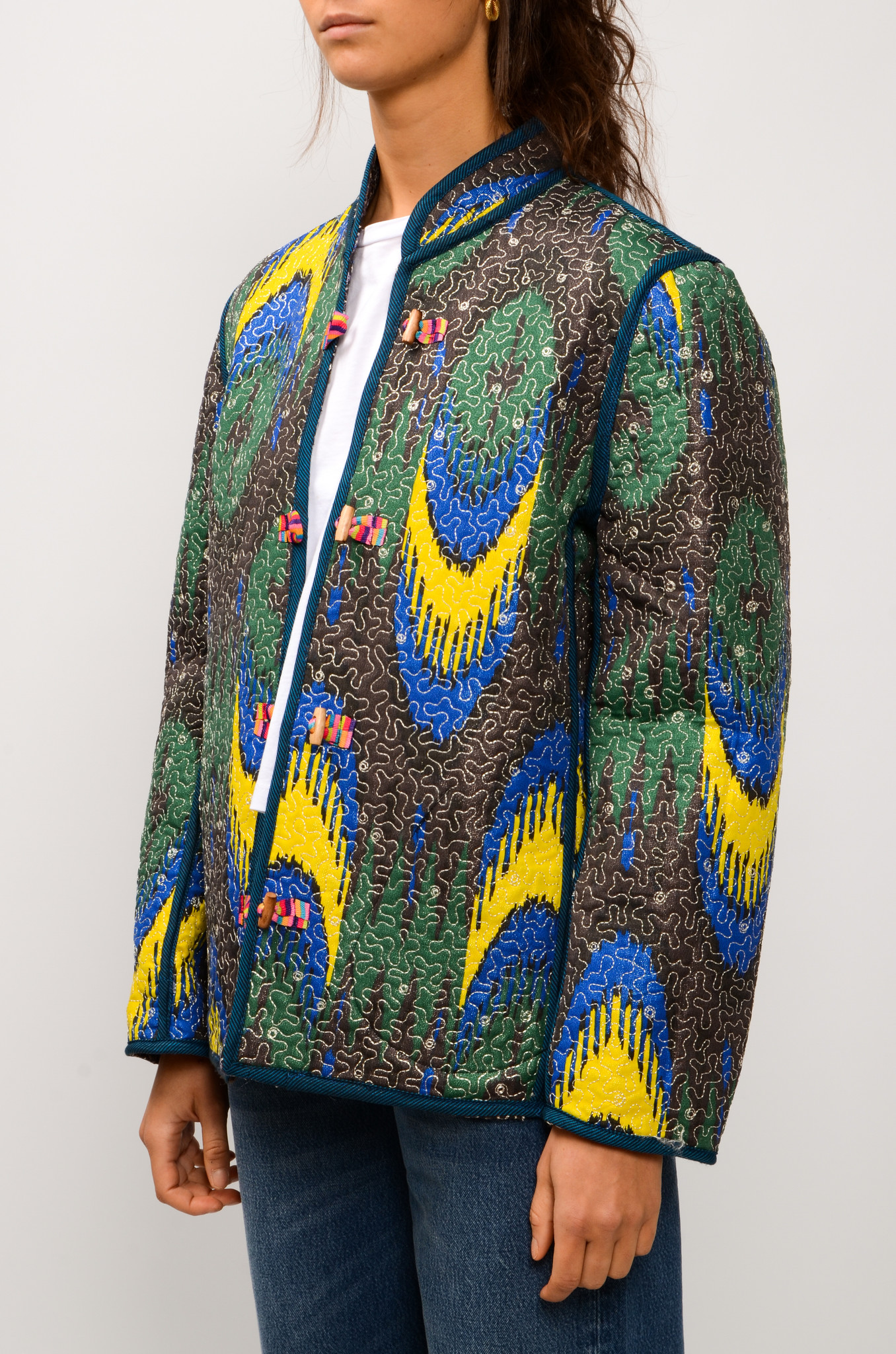 IKAT QUILTED JACKET ROYAL BLUE & YELLOW-3