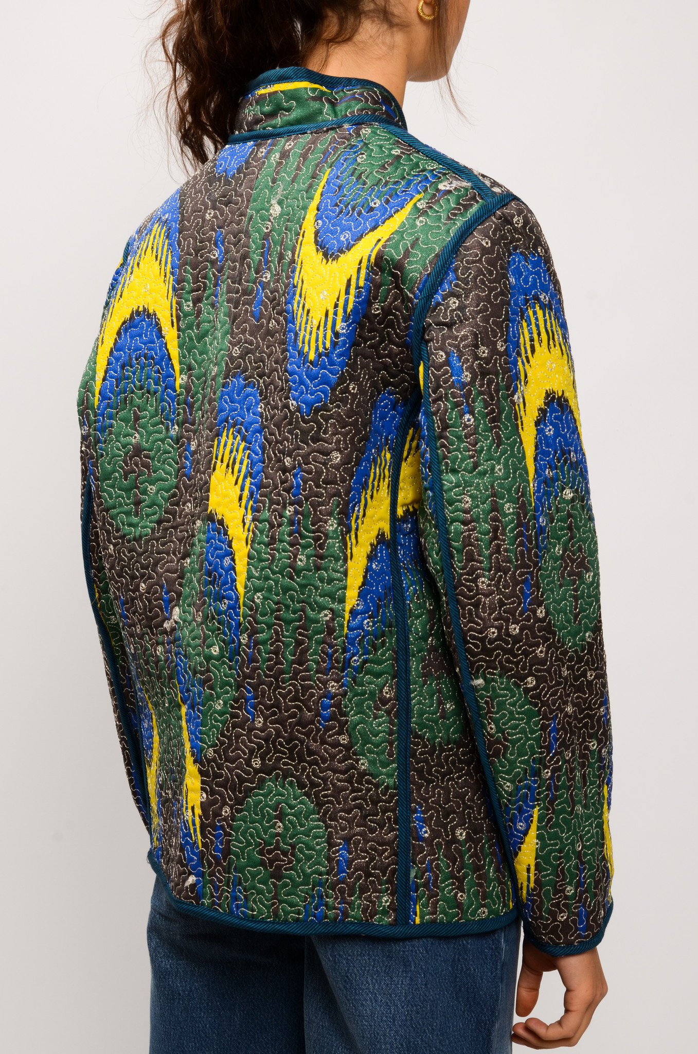 IKAT QUILTED JACKET ROYAL BLUE & YELLOW-4