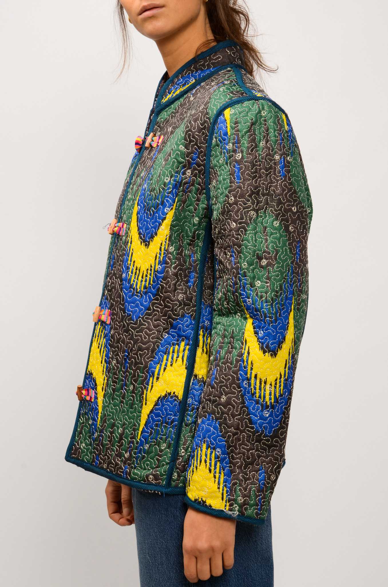 IKAT QUILTED JACKET ROYAL BLUE & YELLOW-5