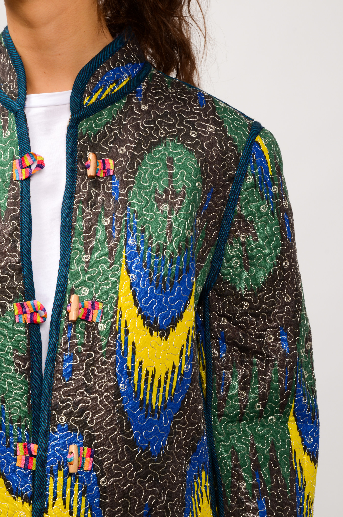 IKAT QUILTED JACKET ROYAL BLUE & YELLOW-6