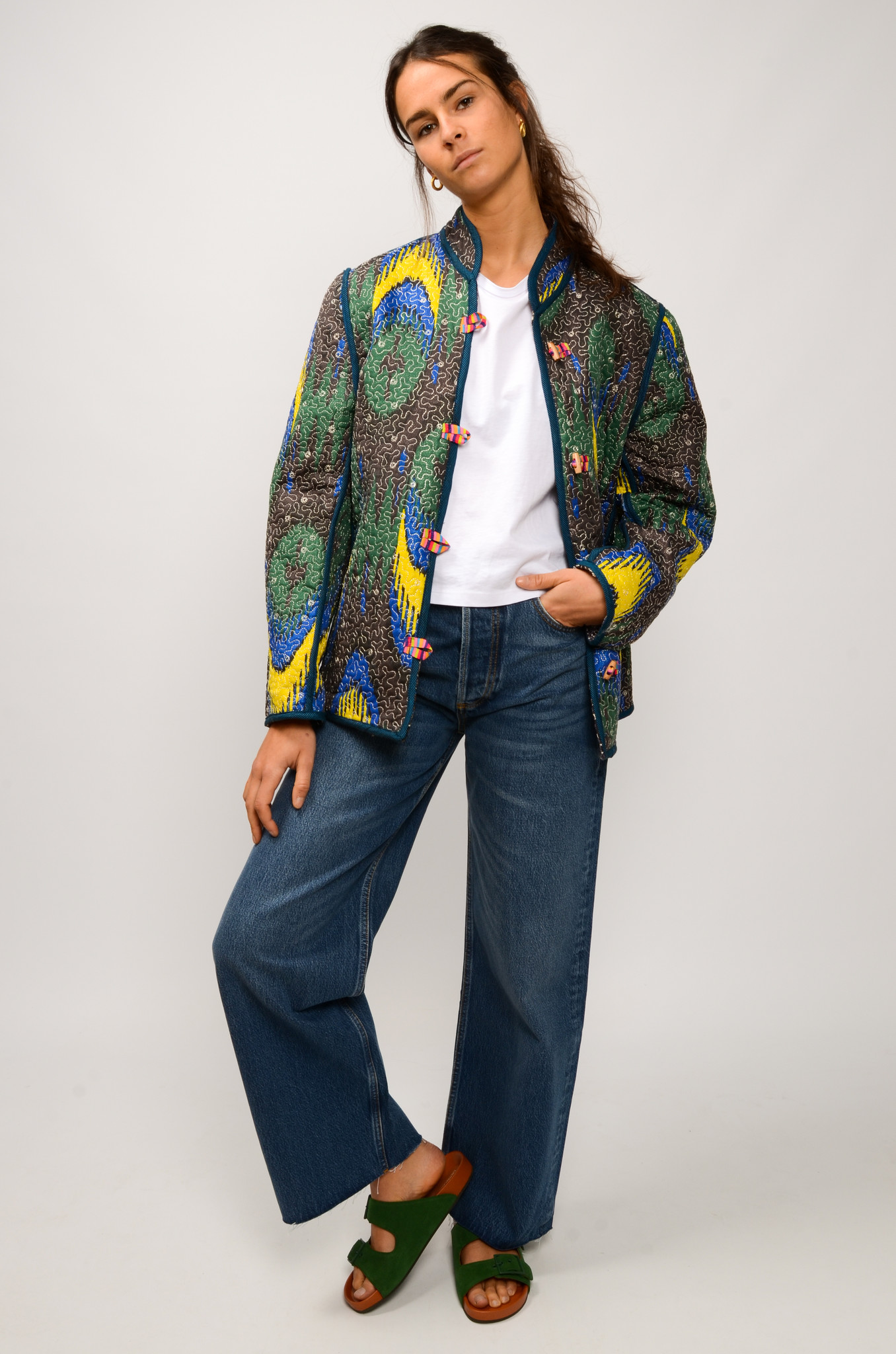 IKAT QUILTED JACKET ROYAL BLUE & YELLOW-2