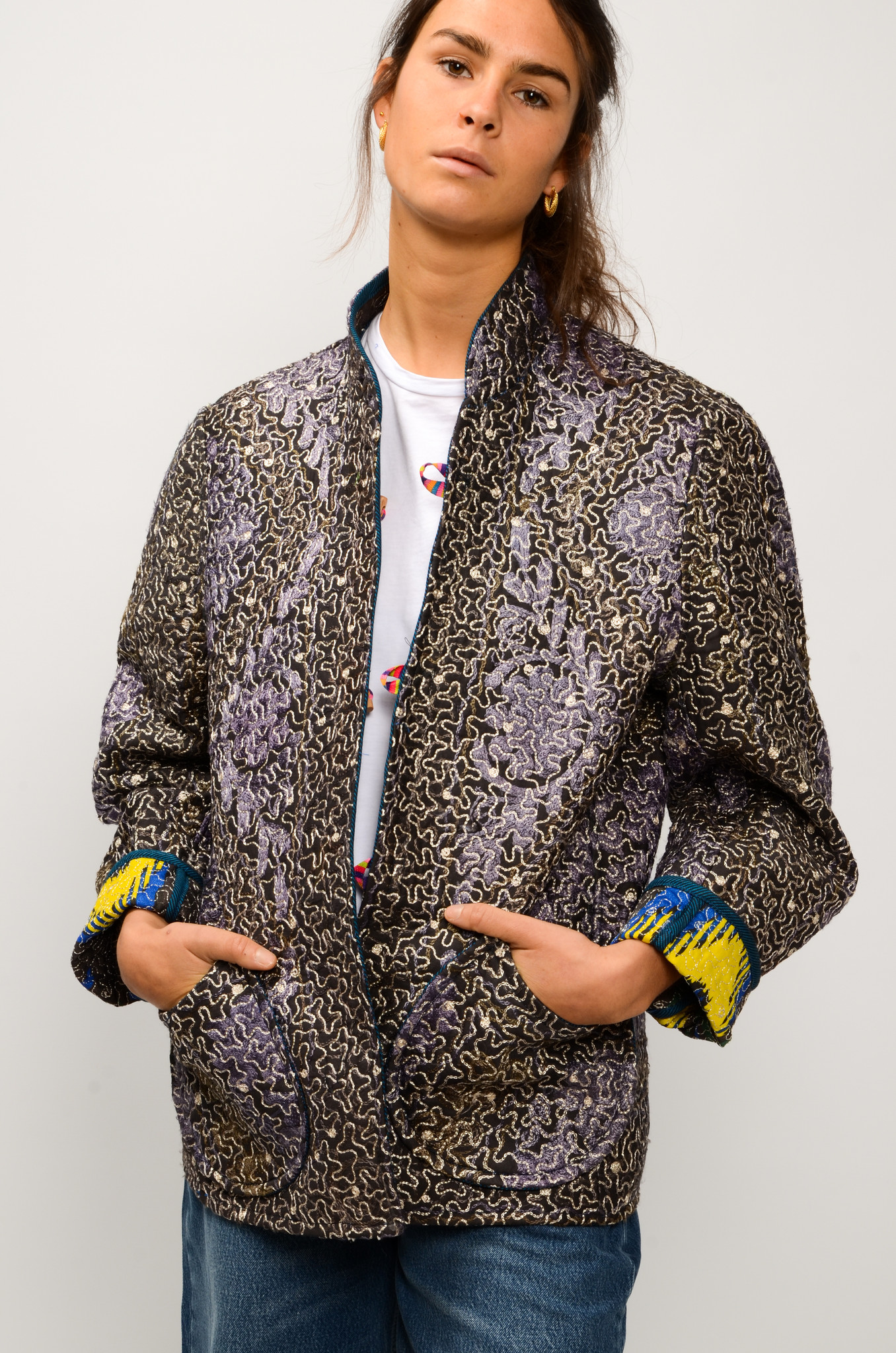 IKAT QUILTED JACKET ROYAL BLUE & YELLOW-7