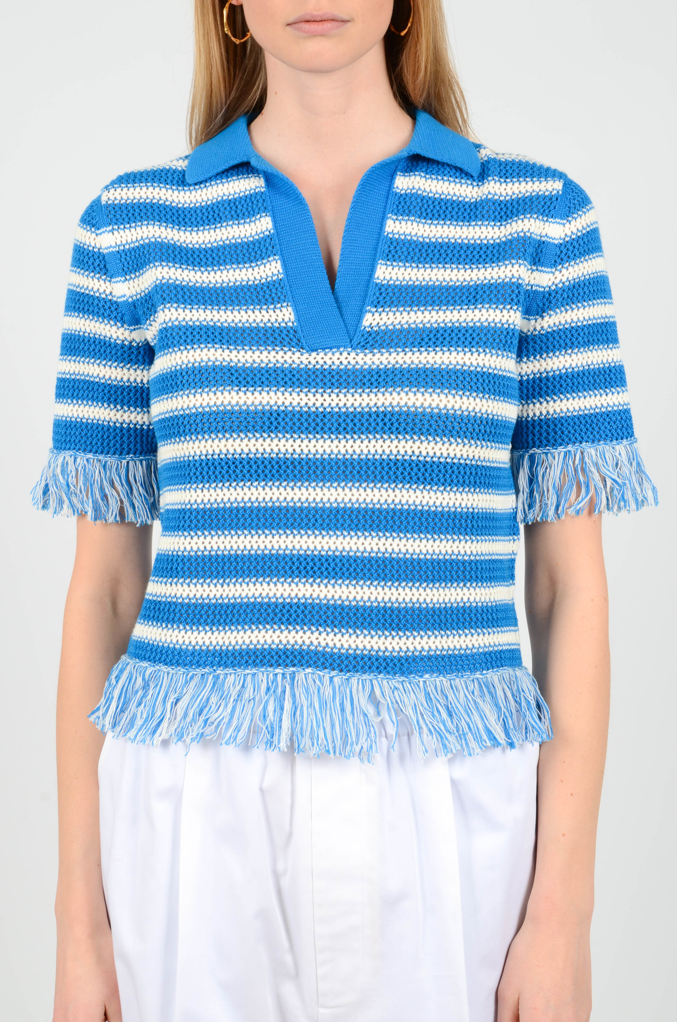 FRINGE KNITTED POLO TOP-1
